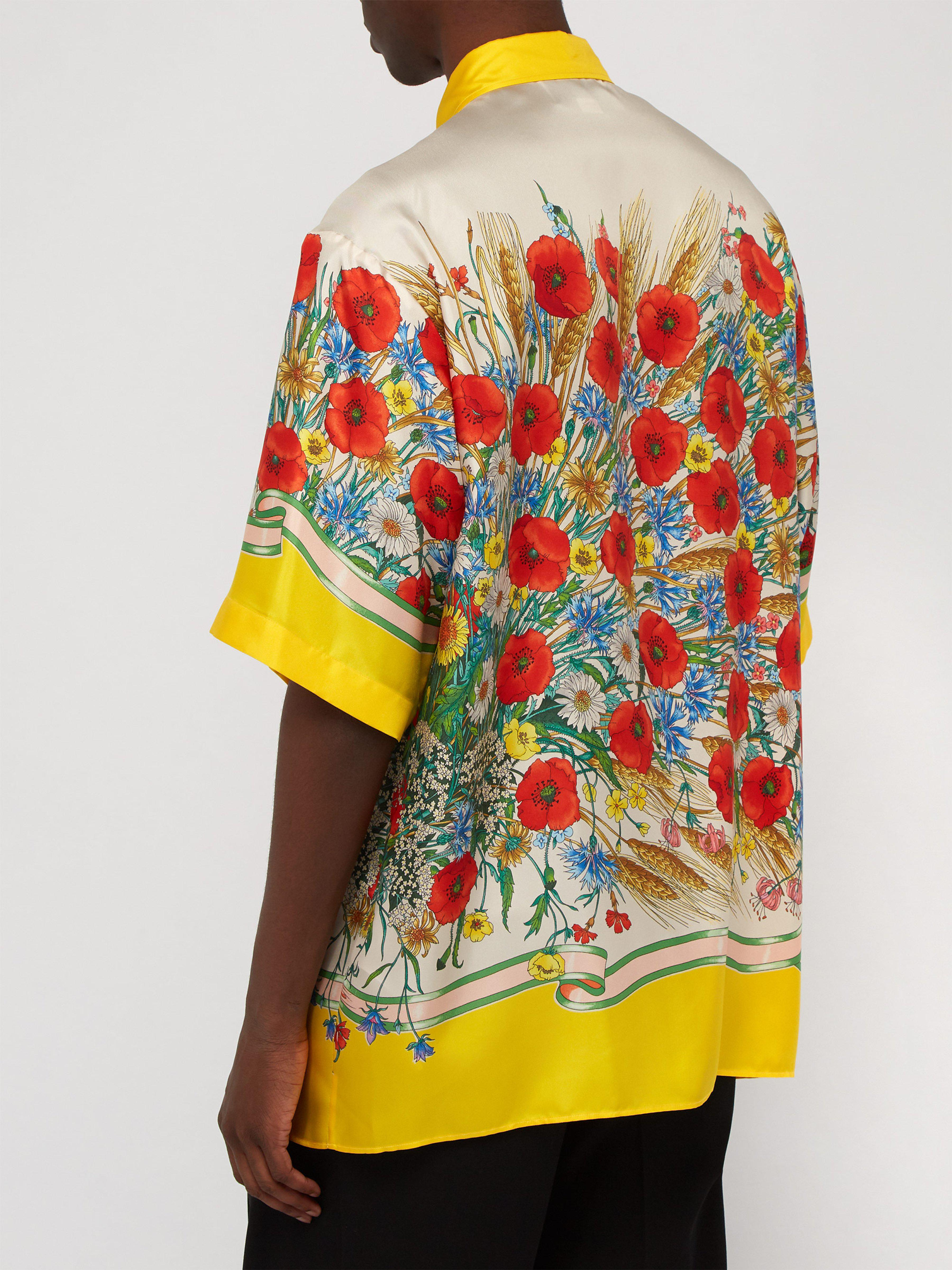 7efc603a Tap to visit site. Gucci - Yellow Floral-print Oversized Silk-twill Shirt  for Men ...