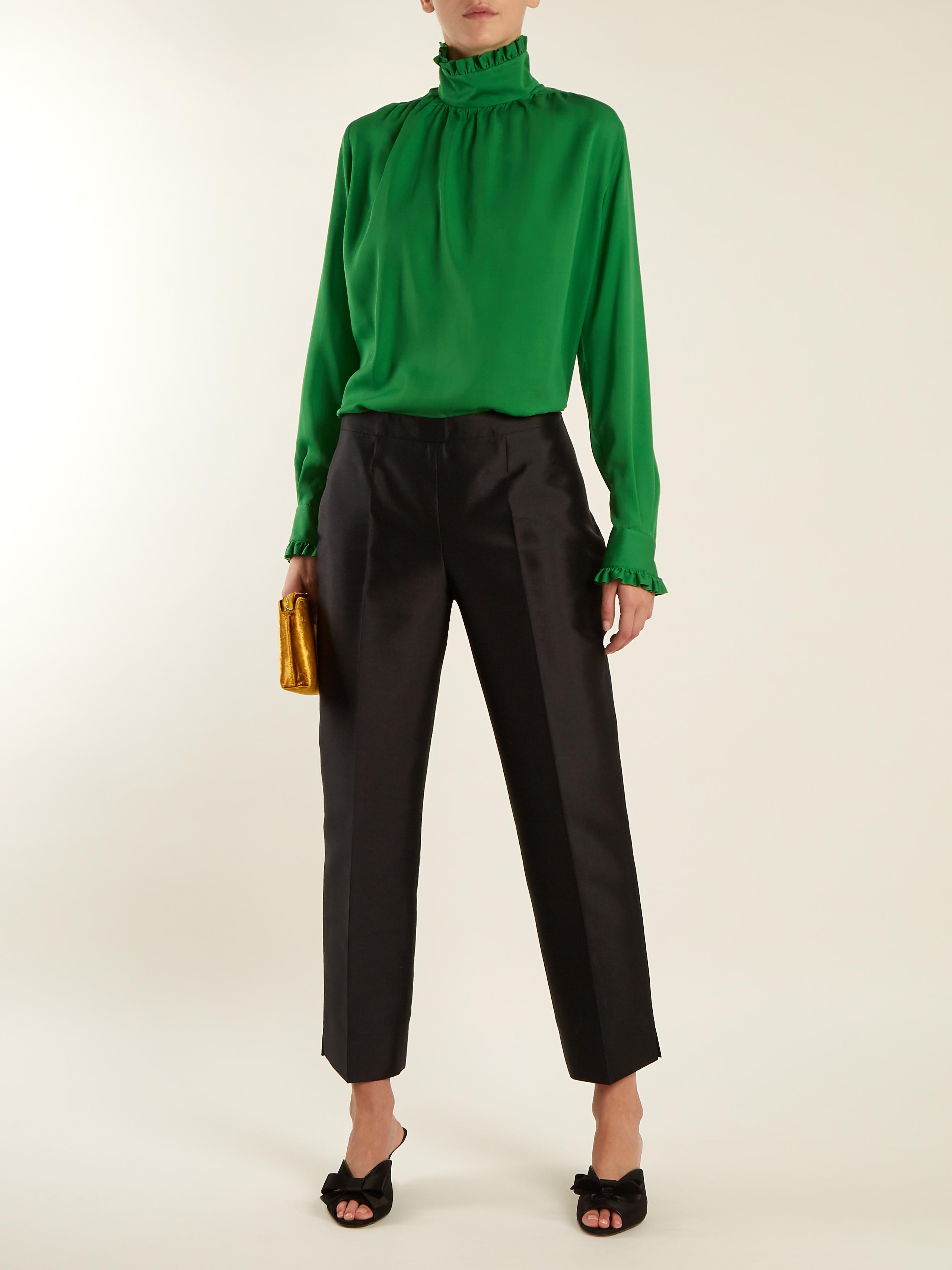 0d495adbbaf4a6 Gucci Ruffle-trimmed High-neck Silk Blouse in Green - Lyst