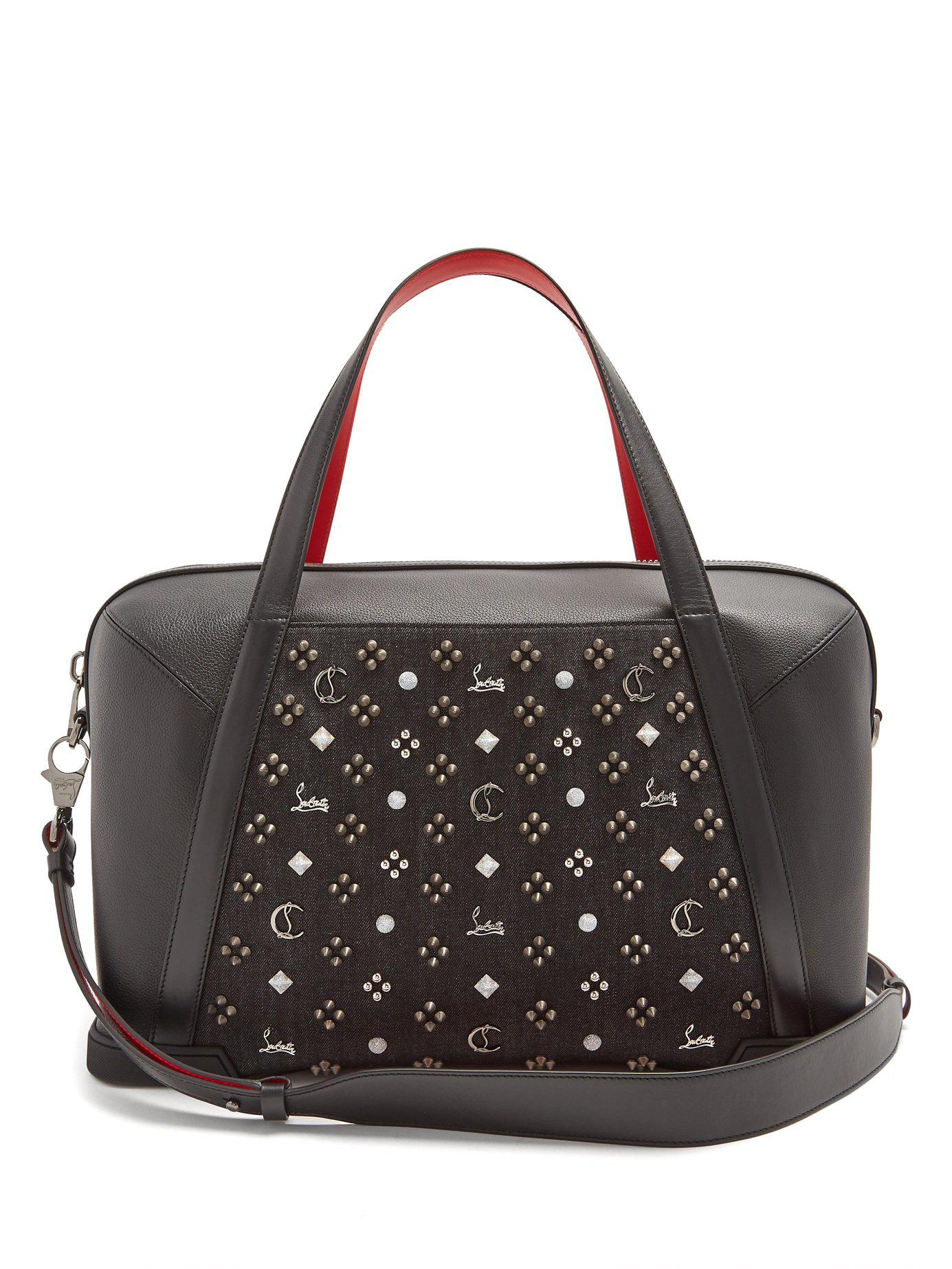 11f017d8d9ec Christian Louboutin. Men s Black Bagdamon Spike Embellished Leather Holdall