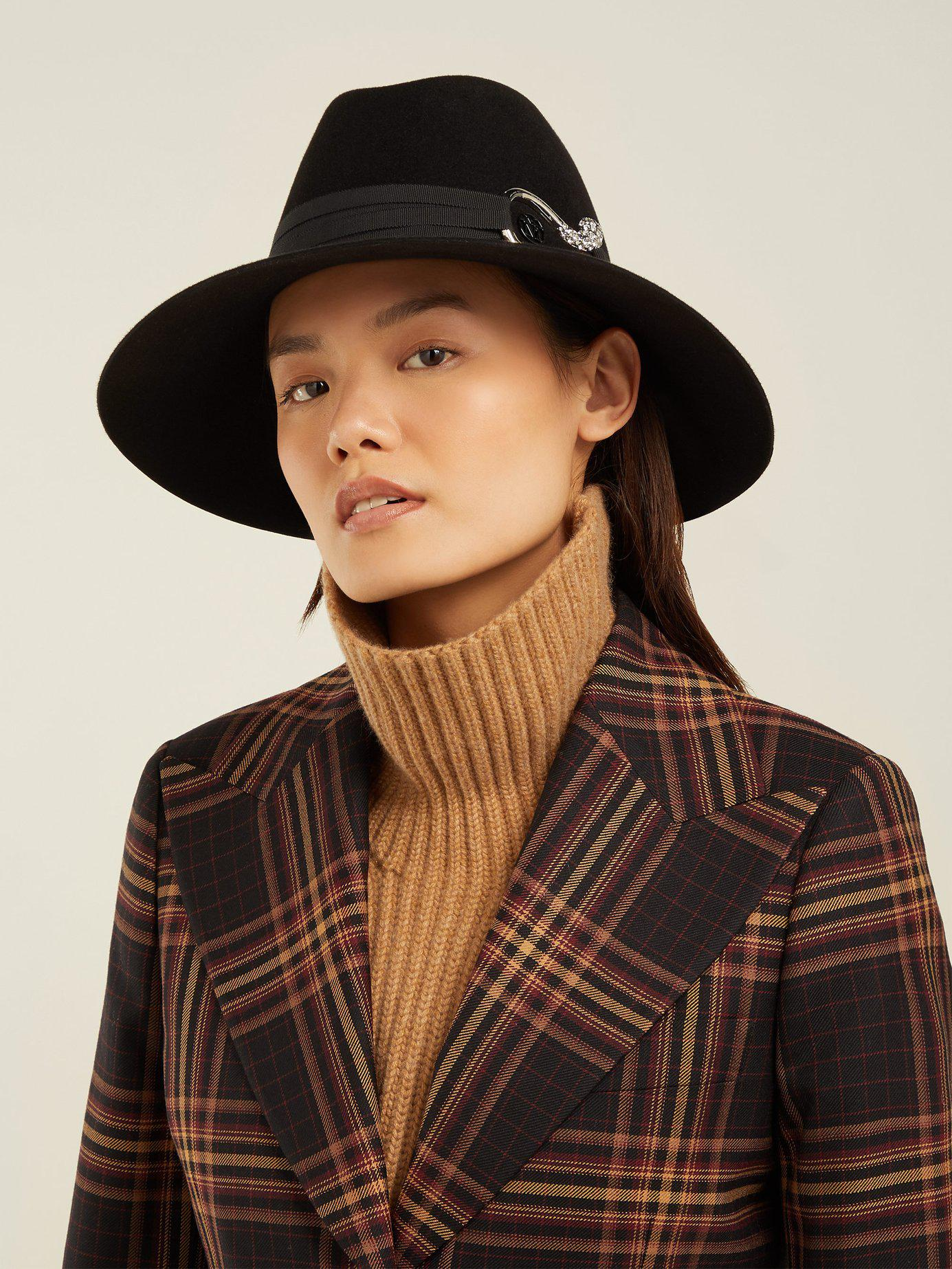8c402543eb7d8 Lyst - Maison Michel Kate Felt Fedora Hat in Black - Save 25.69832402234637%