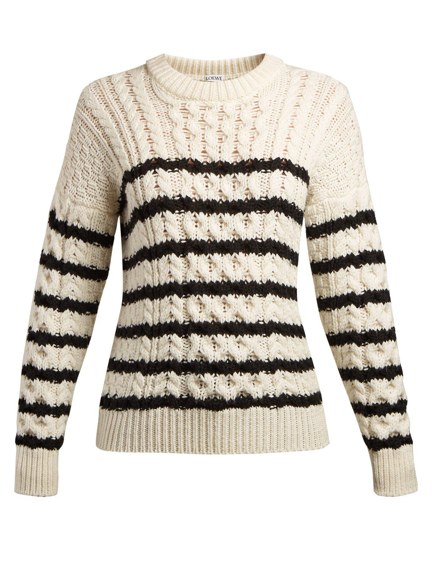 Cable Lyst Knit Black Sweater Striped In Loewe w7q7RH