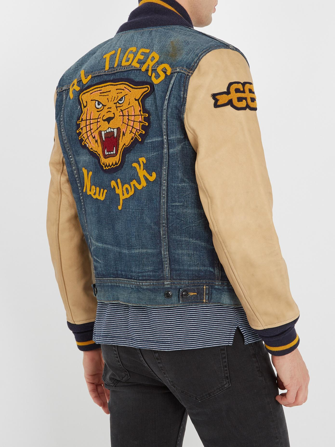 6276fd3f91f5 Lyst - Polo Ralph Lauren Leather-sleeved Denim Varsity Jacket in ...