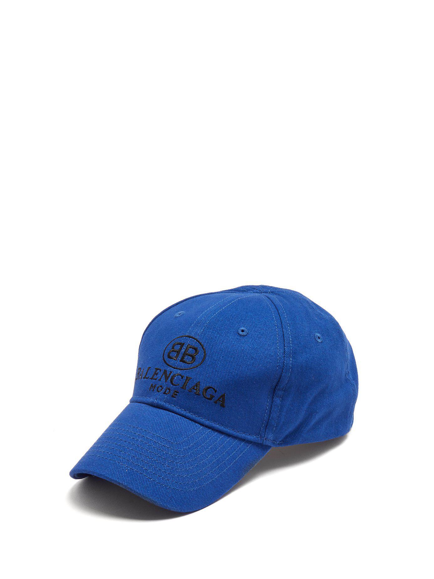 Lyst - Balenciaga Logo Embroidered Cotton Cap in Blue for Men - Save 23% e56ffe5a0bd8