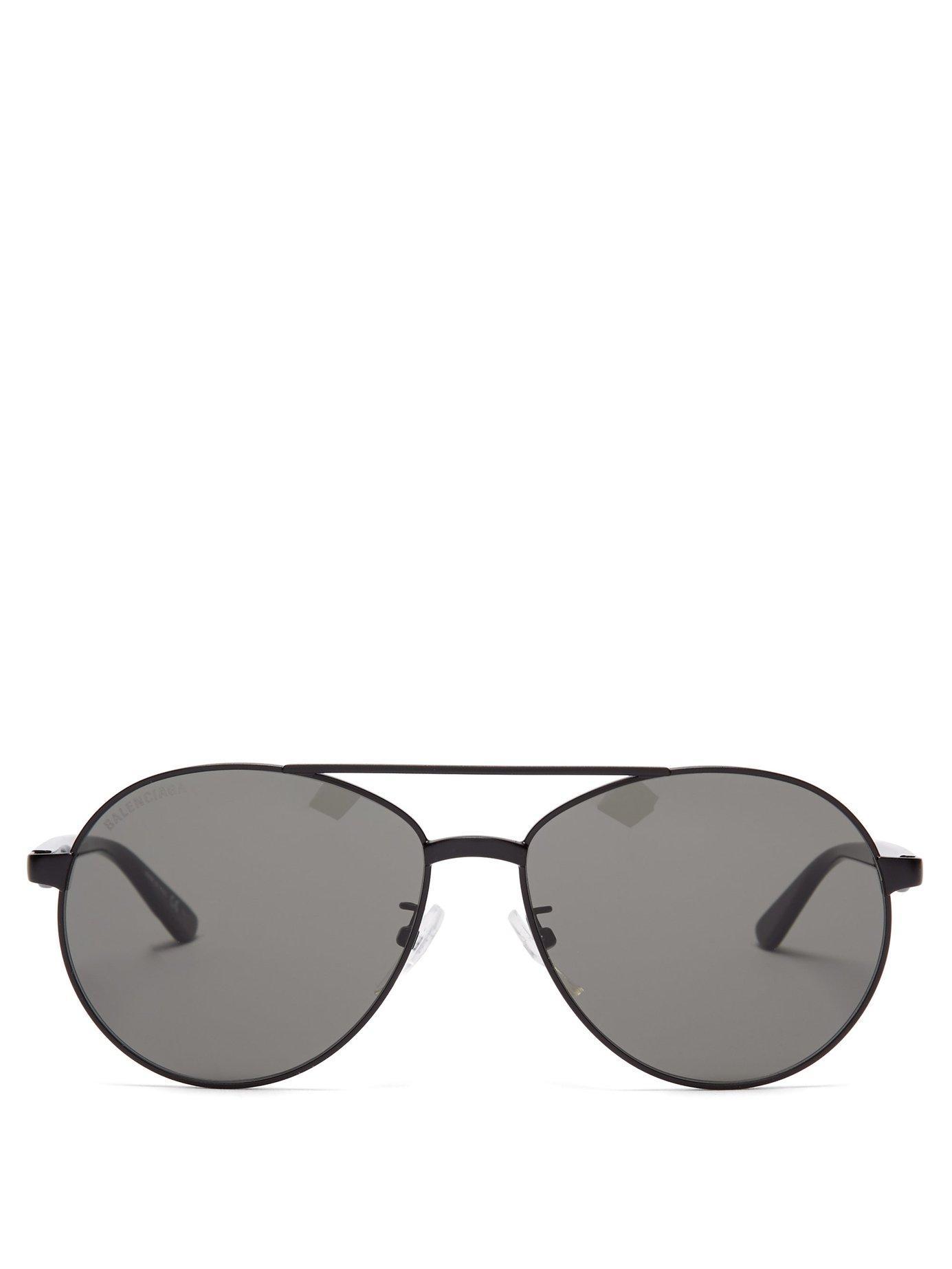 dd03299afce Lyst - Balenciaga Aviator Metal And Acetate Sunglasses in Black for Men