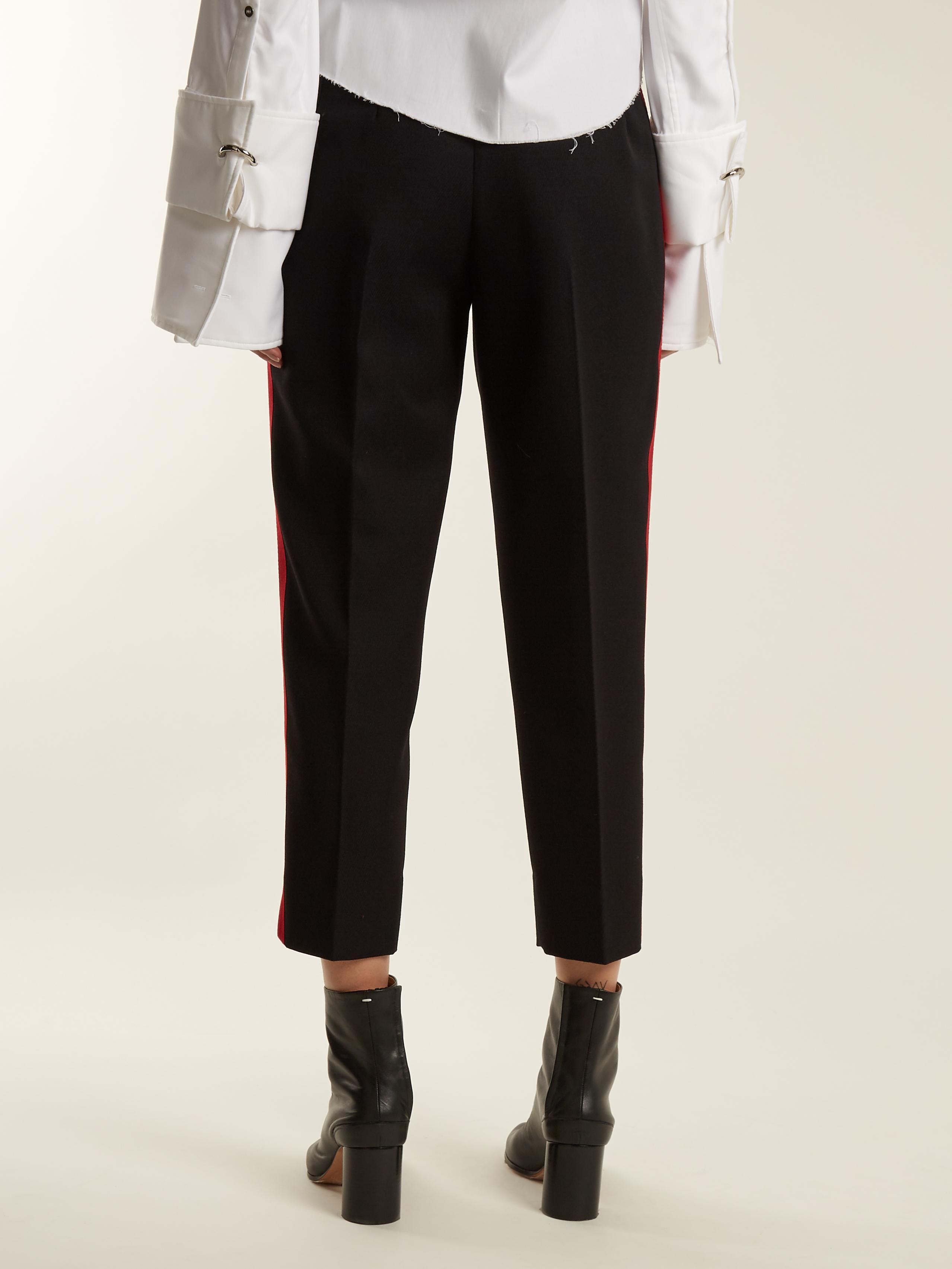 Contrast-stripe slim-leg wool-blend trousers Maison Martin Margiela aNHJYs