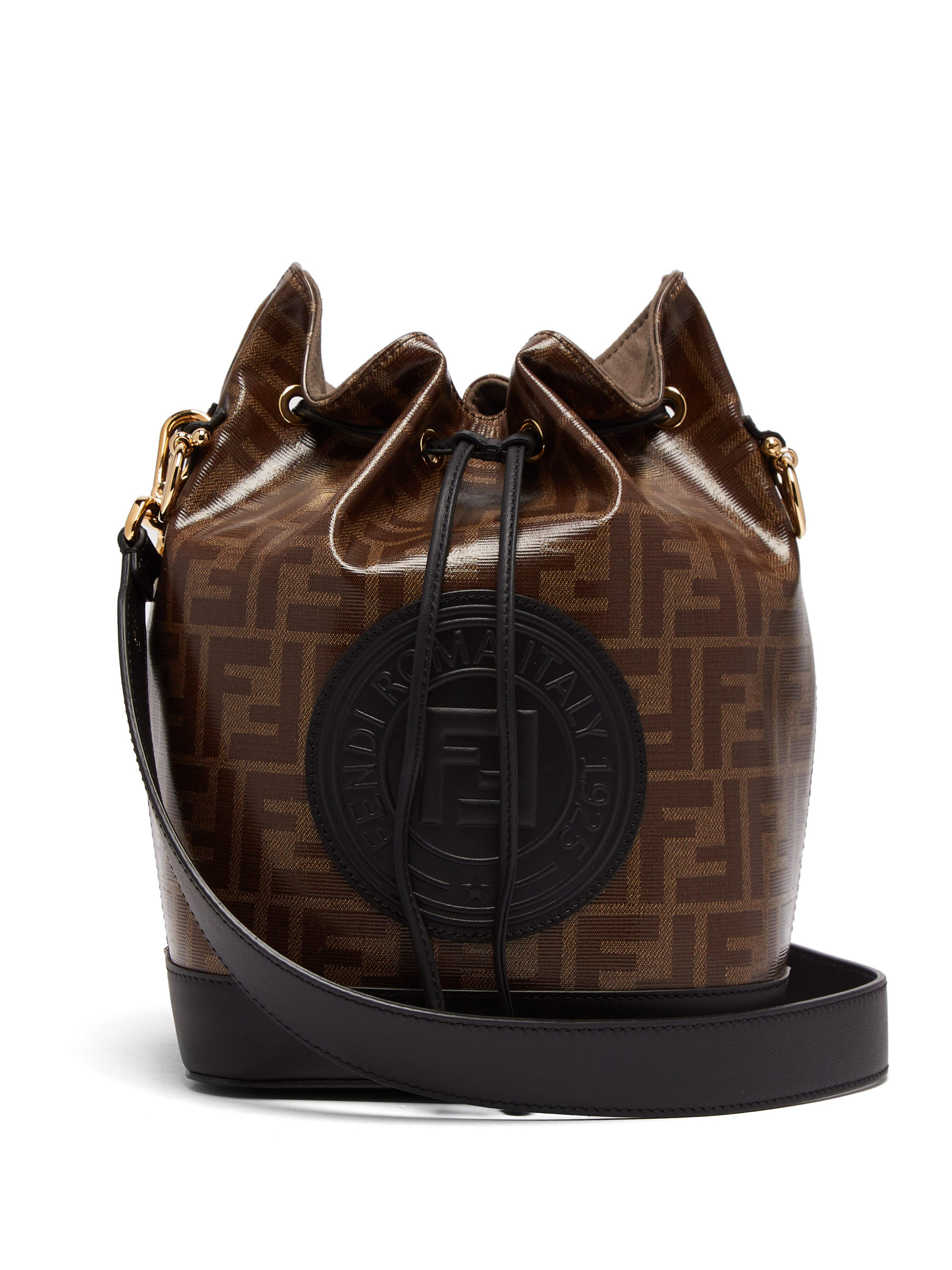 Fendi Mon Tresor Ff Jacquard Leather Bucket Bag in Brown - Lyst 9ccfec6f33d2a