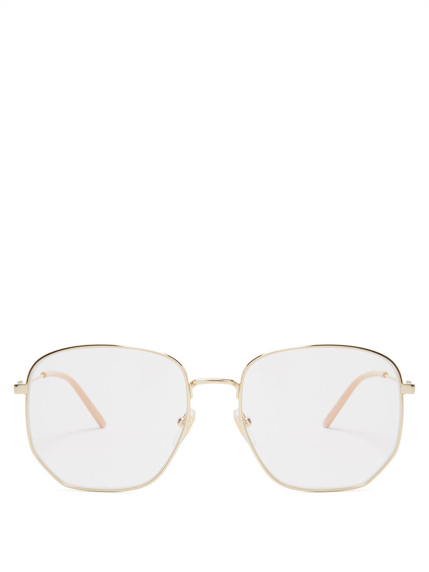 ea4af1749688 Lyst - Gucci Square Frame Metal Glasses in Metallic for Men
