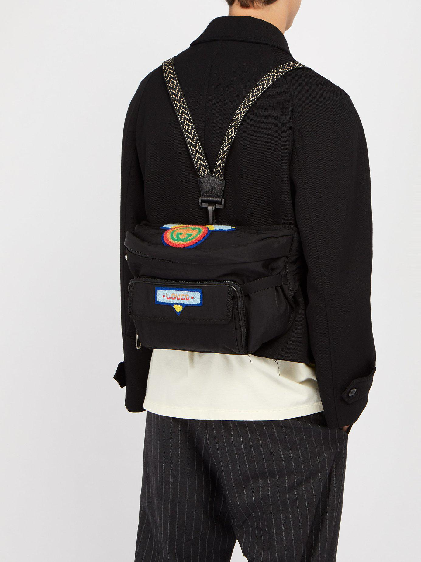 a1e27cdc0 Gucci - Black Loved Chenille Appliquéd Belt Bag for Men - Lyst. View  fullscreen