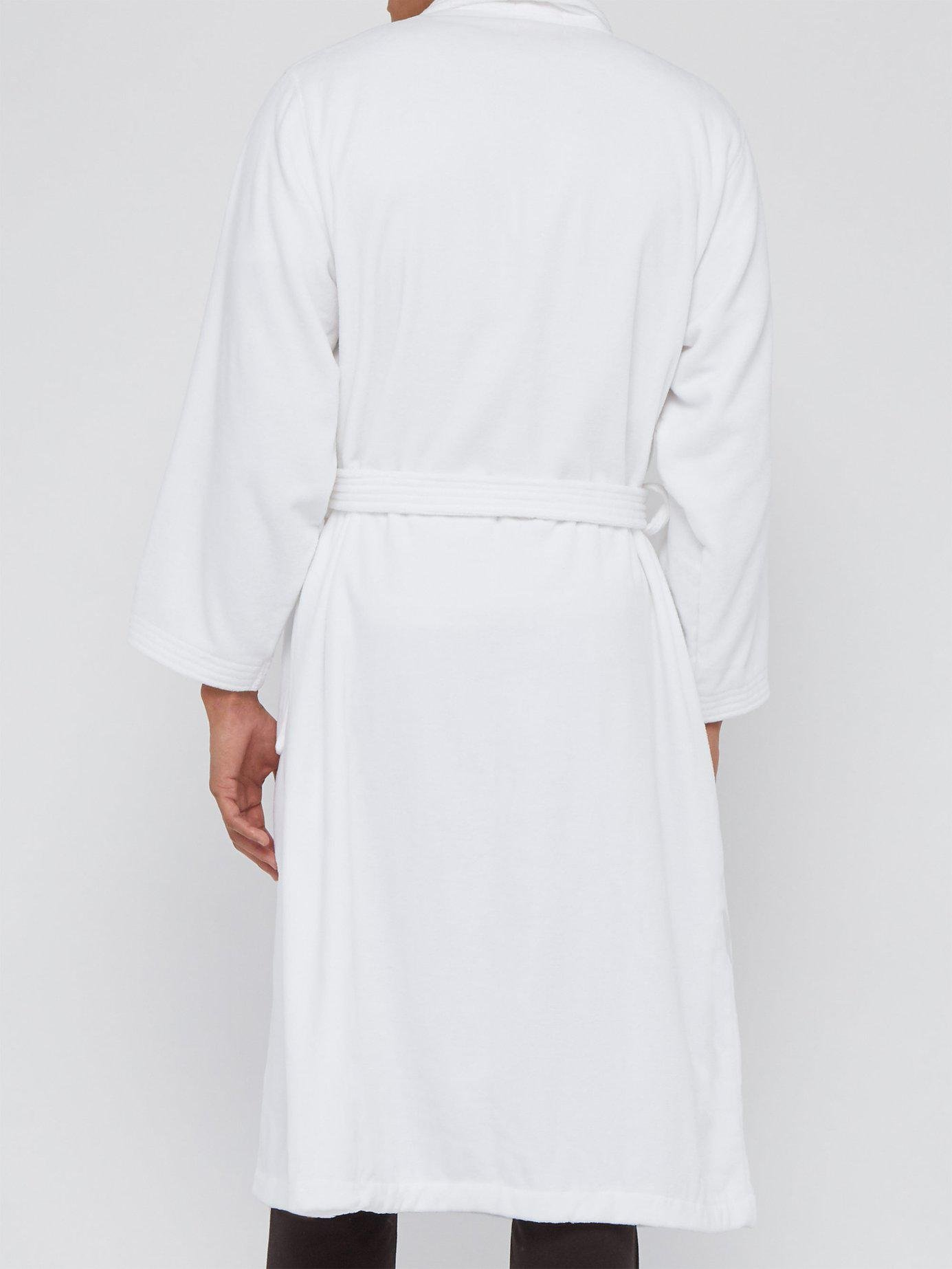 Derek Rose - White Cotton Velour Bathrobe for Men - Lyst. View fullscreen 144eee0d4