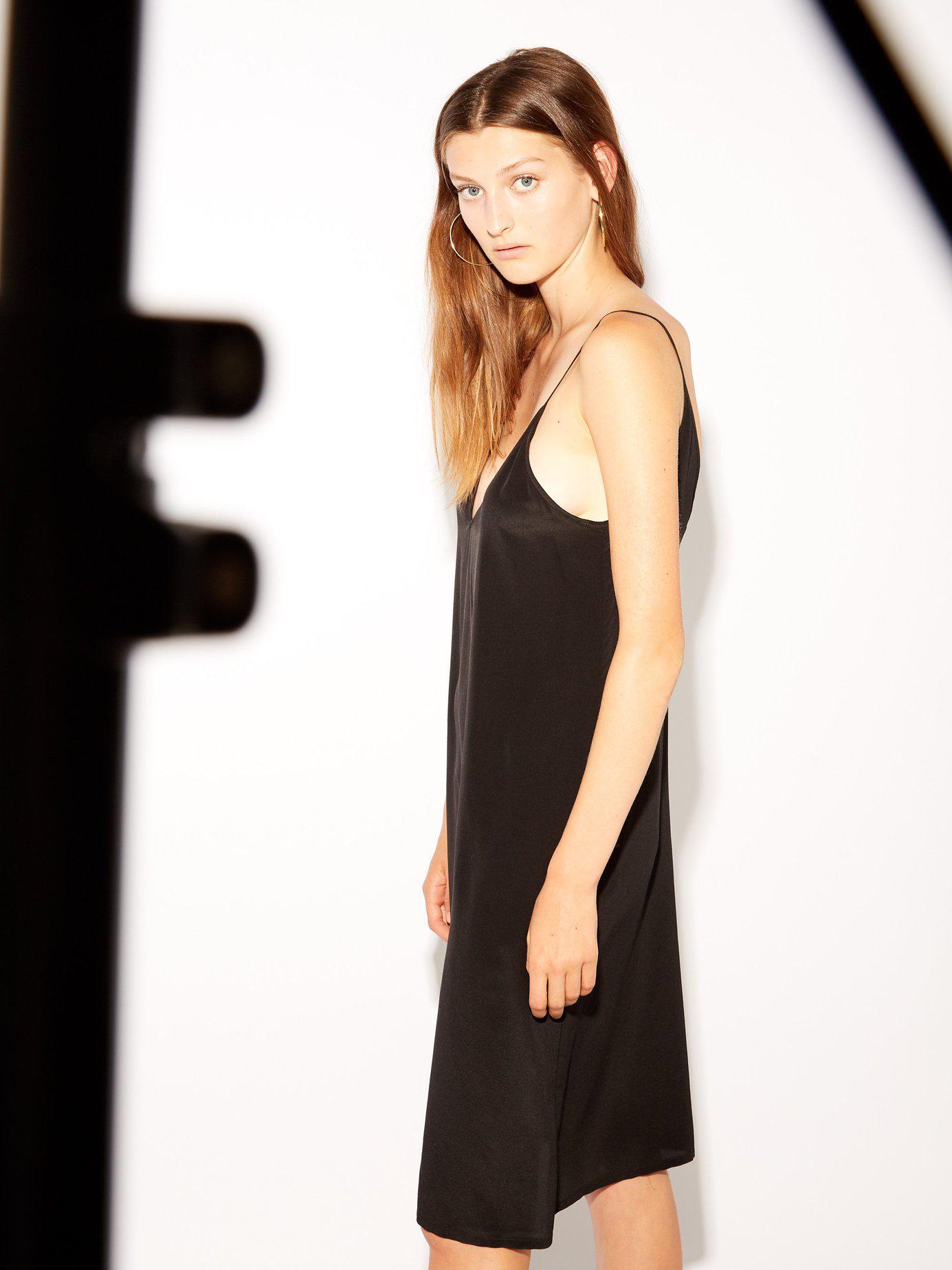 50b0b7fb71603 Raey Deep V-neck Silk Slip Dress in Black - Lyst