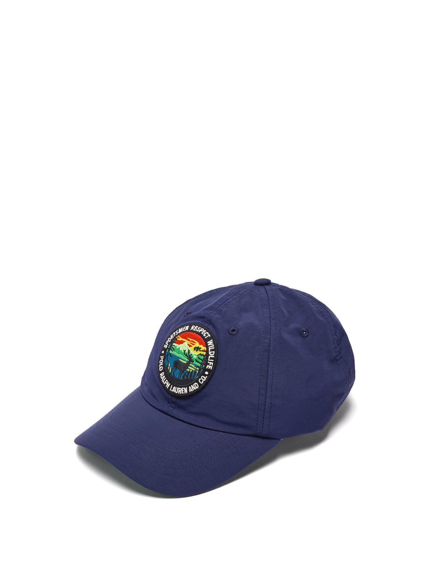 Lyst - Ralph Lauren Purple Label Logo Patch Baseball Cap in Blue for Men a8cbfb96a1a0