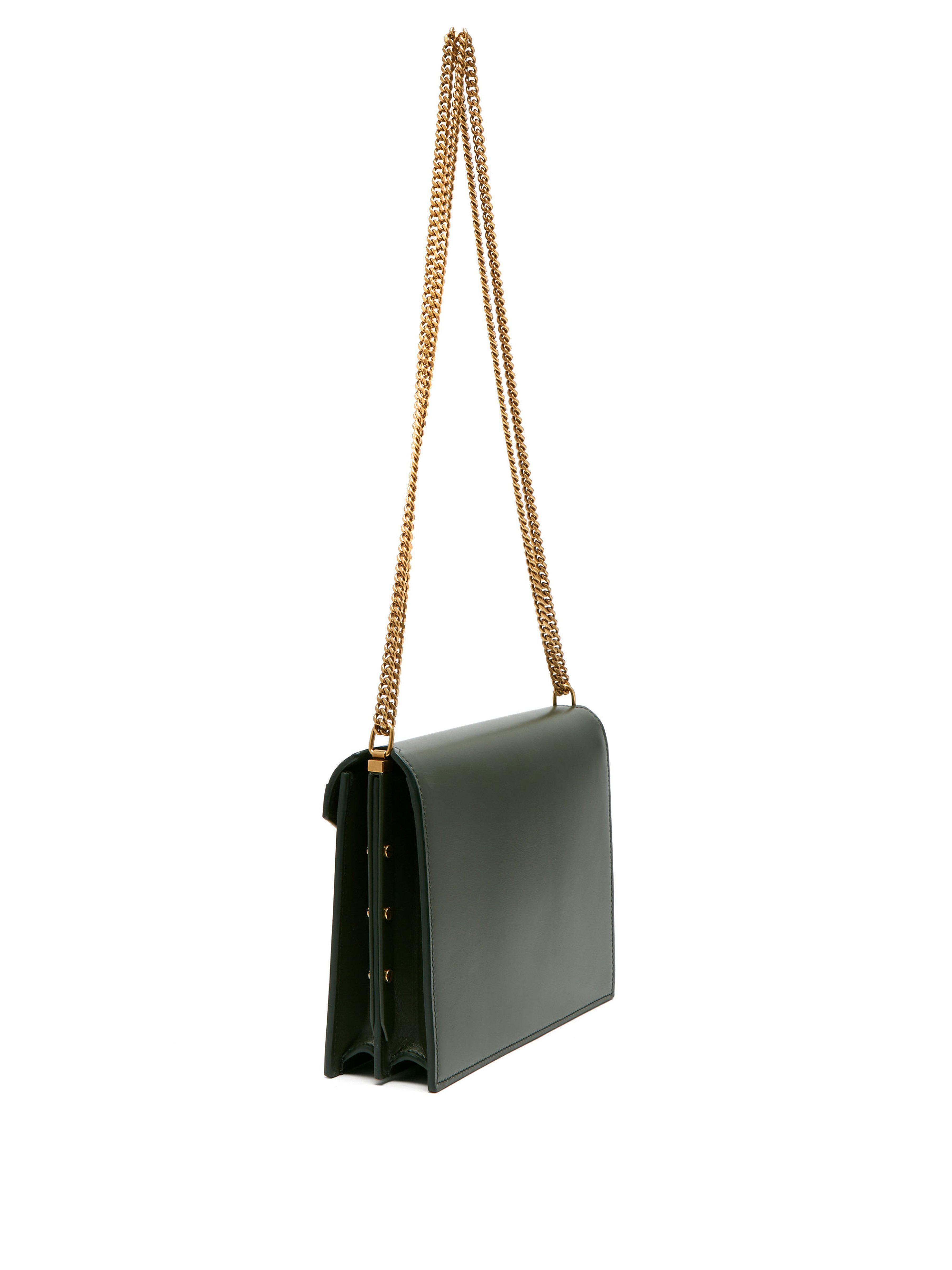 e9114248b0 Saint Laurent Cassandra Ysl-clasp Leather Cross-body Bag in Green - Lyst