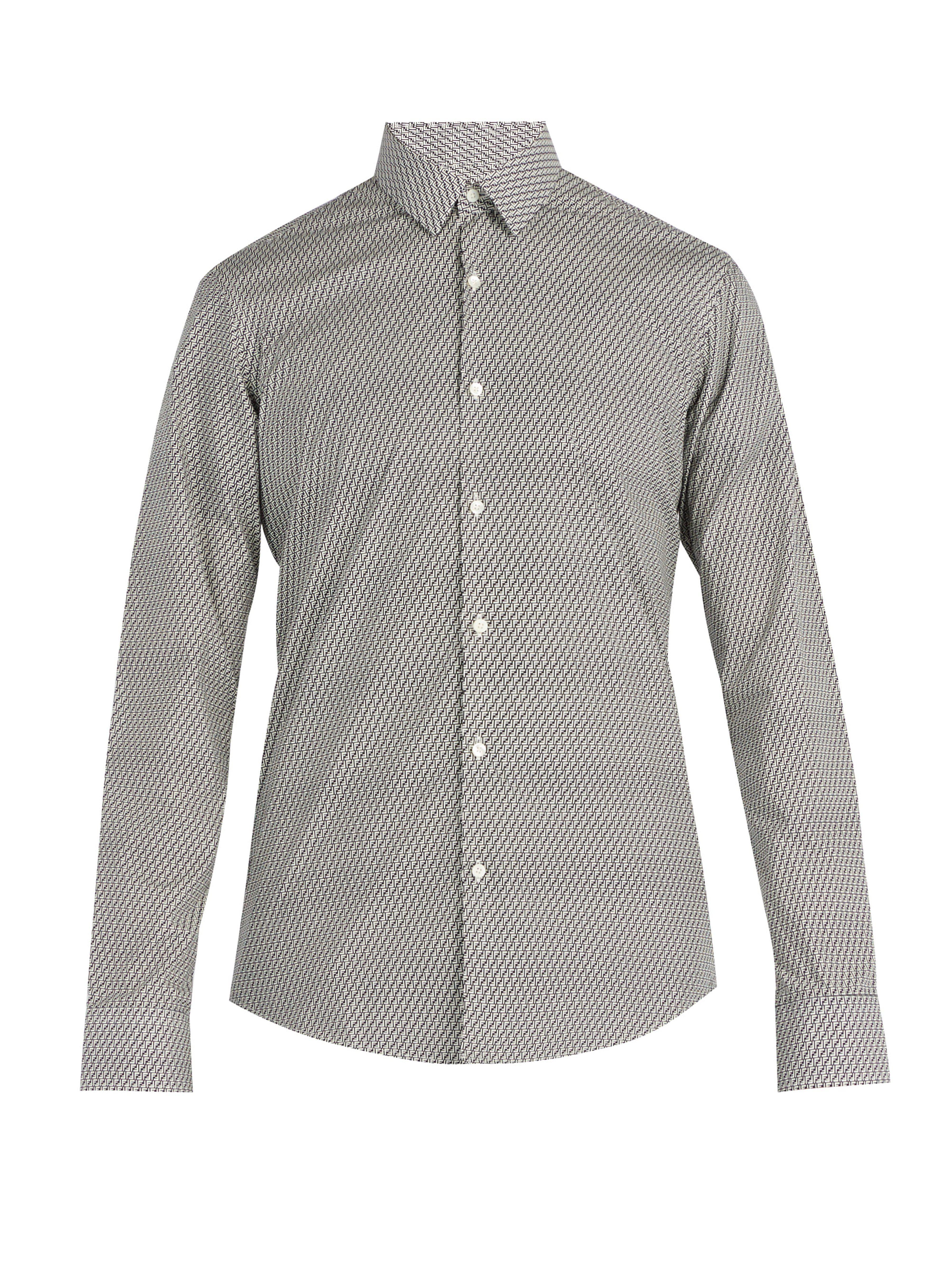 00a5d01e7043 Fendi Ff Print Cotton Shirt in Gray for Men - Lyst