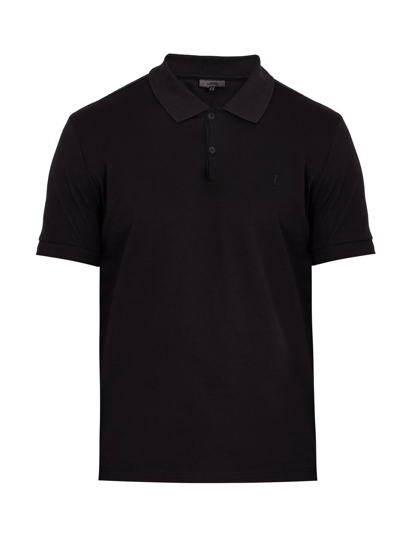 Lyst lanvin logo embroidered cotton polo shirt in black for Cotton polo shirts with logo