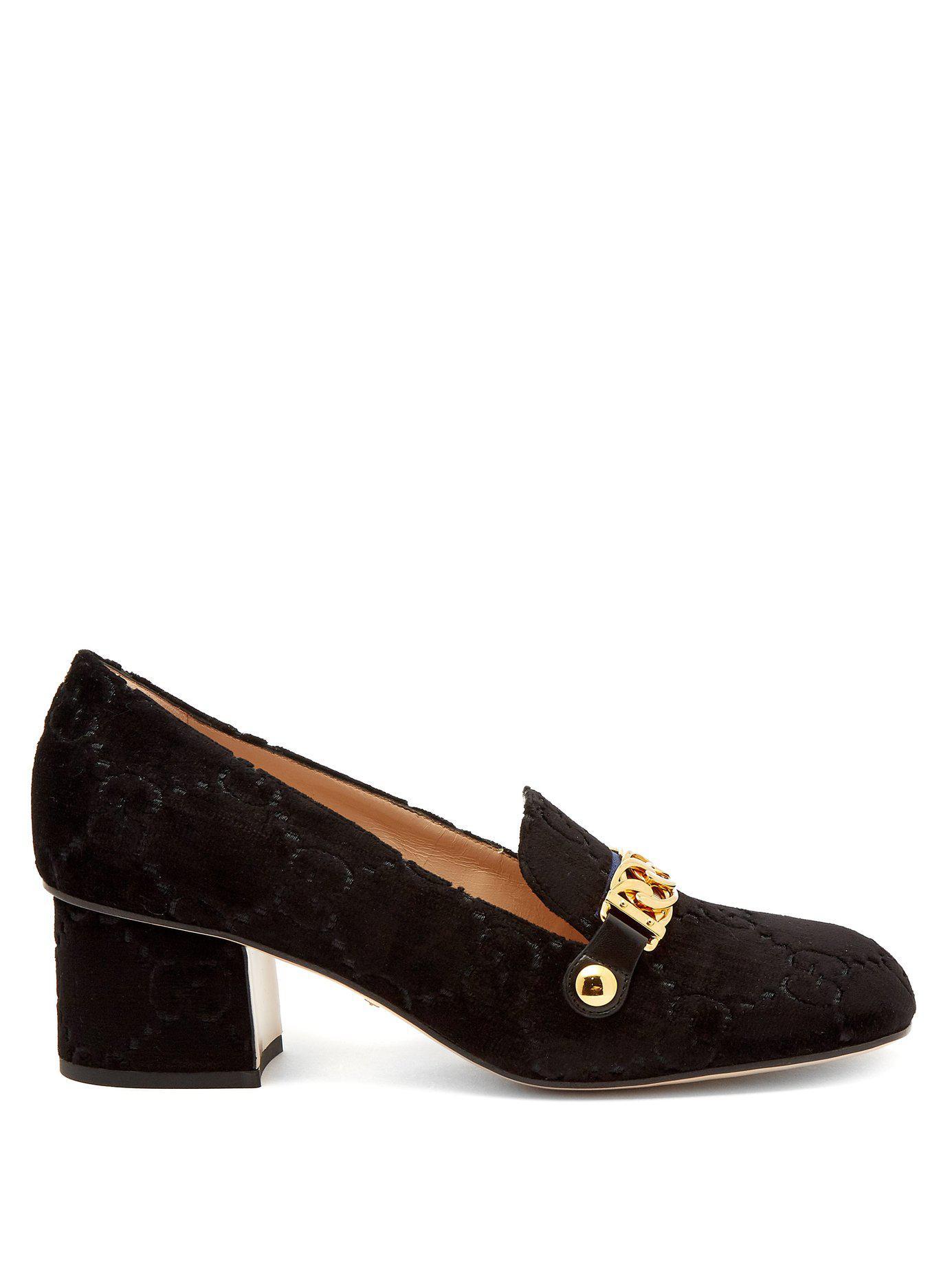 6c522212913 Lyst - Gucci Sylvie Logo Debossed Velvet Loafers in Black