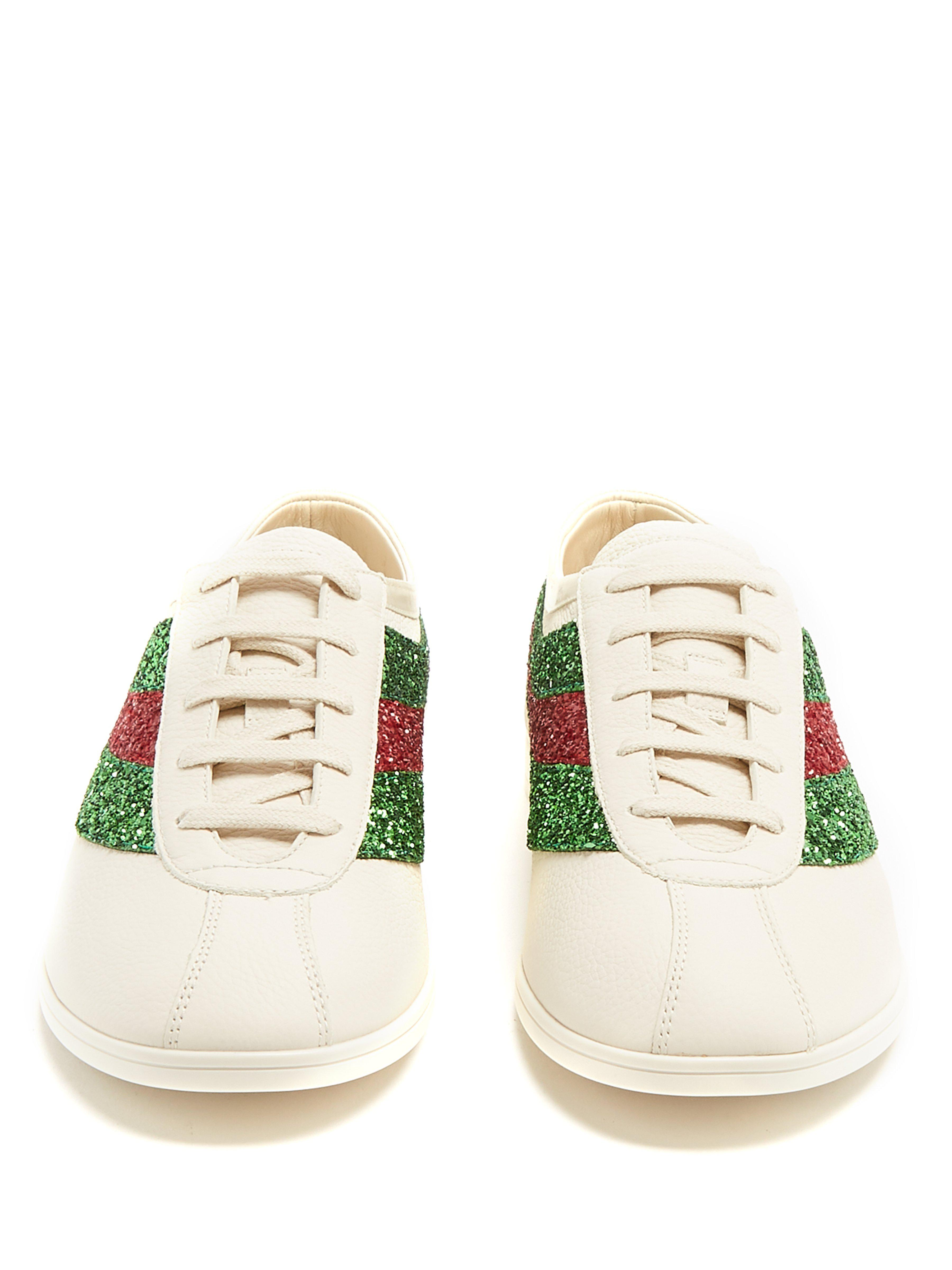 4ddae130cf8 Gucci Falacer Glitter-embellished Leather Trainers for Men - Lyst