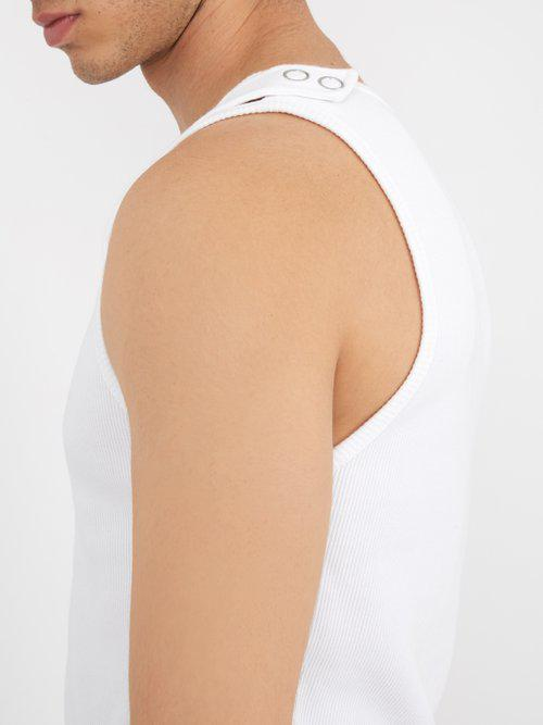 9040246e26ab8 Lyst - Helmut Lang Reveal Ribbed Cotton-blend Knit Tank Top in White ...