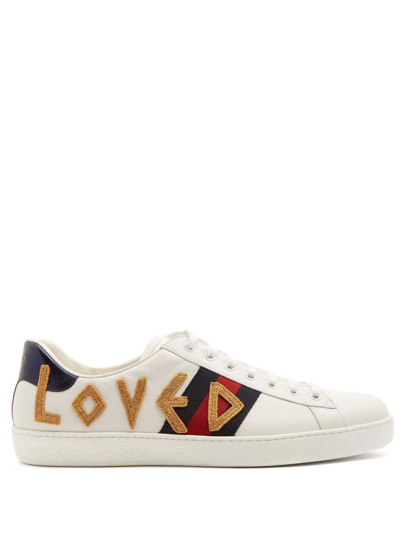 1934781882f Lyst - Gucci New Ace Embroidered Leather Trainers in White for Men