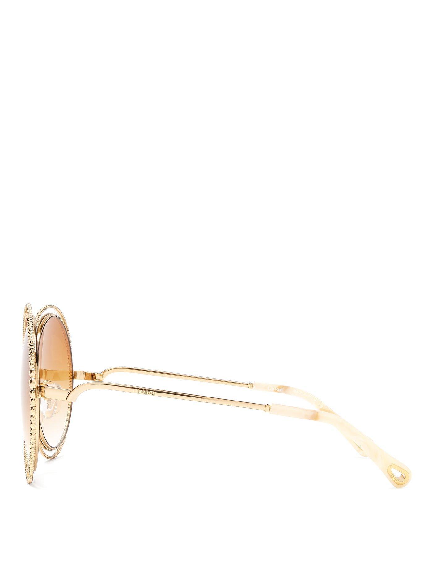 29f41a97818 ... Carlina Chain Frame Oversized Round Sunglasses - Lyst. View fullscreen