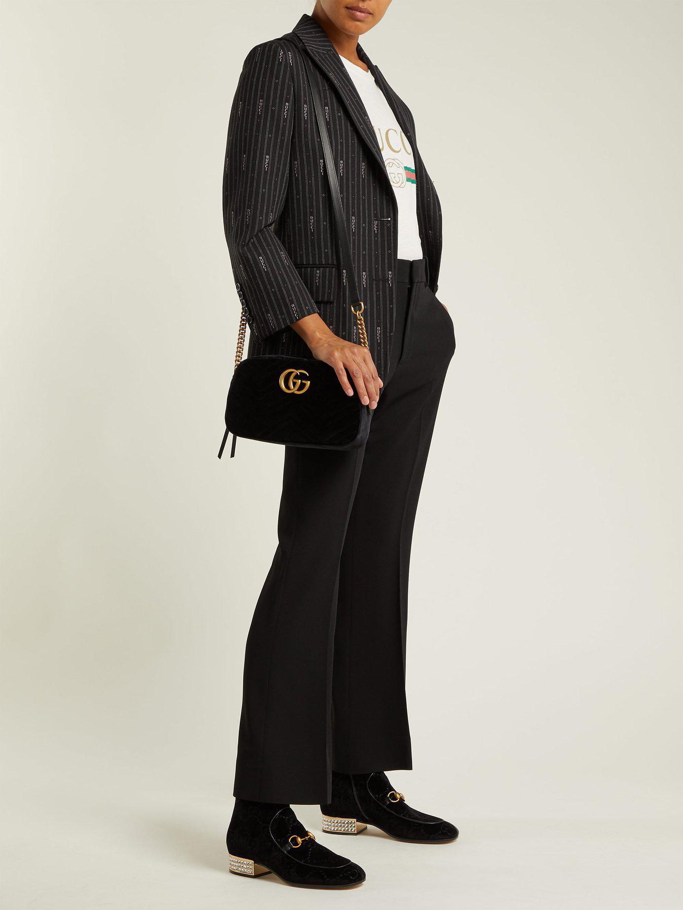 8371ddf51587 Gucci GG Marmont Velvet Small Shoulder Bag in Black - Save 9% - Lyst