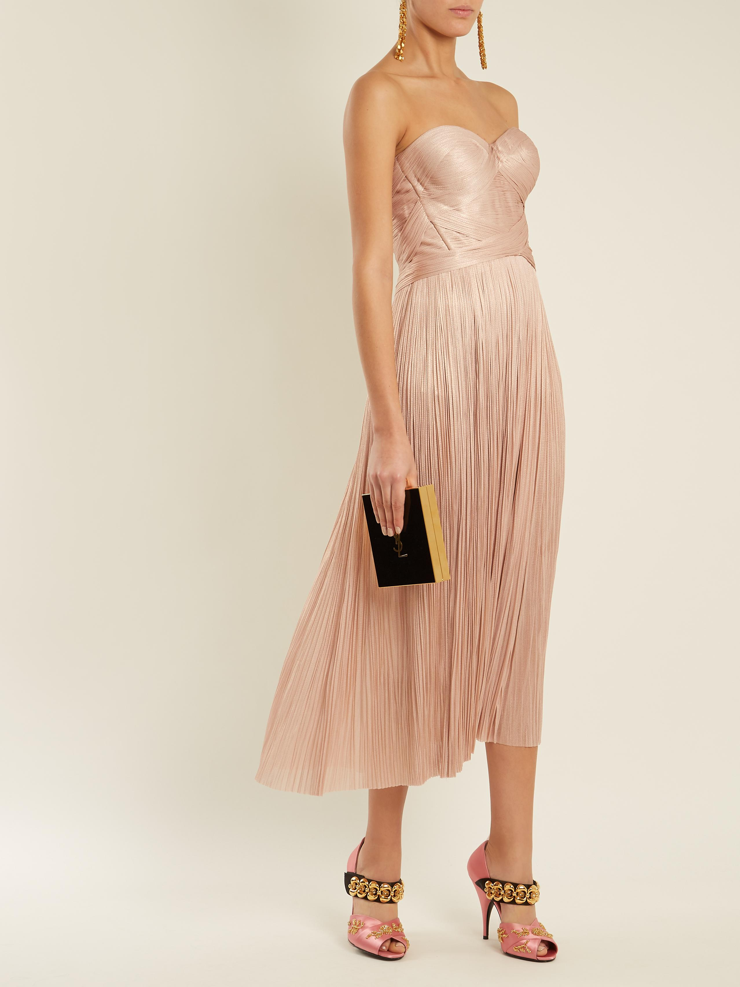 Enora V-neck pleated tulle dress Maria Lucia Hohan