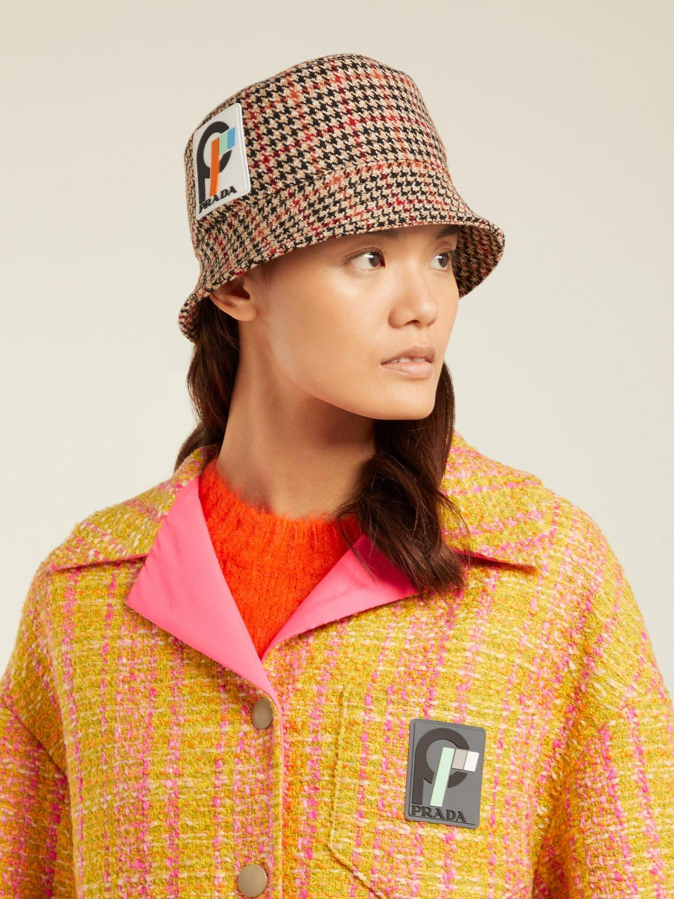 d3cd30a01aa Prada - Multicolor Houndstooth Wool Tweed Bucket Hat - Lyst. View fullscreen