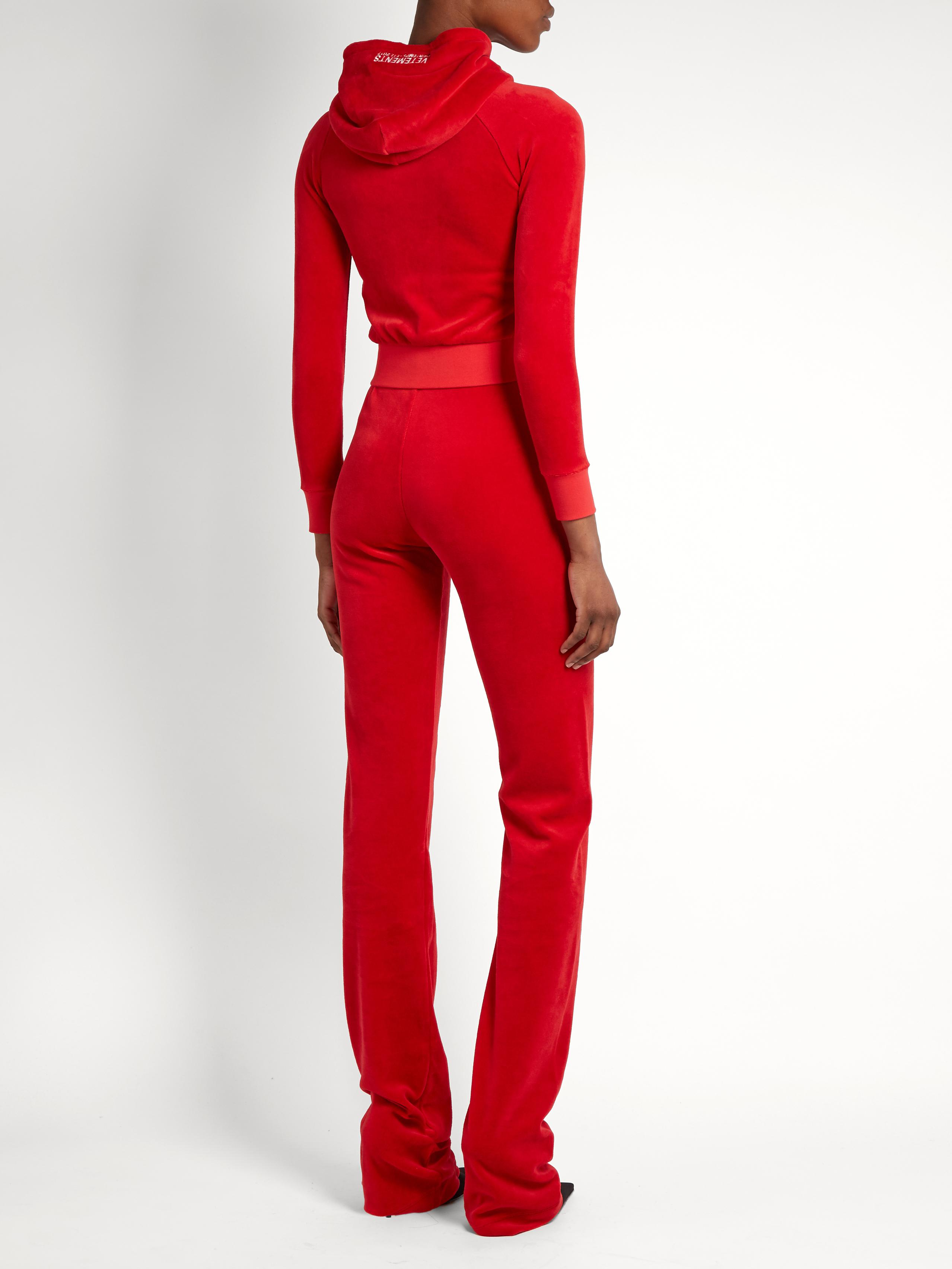 389d414f713f Vetements X Juicy Couture Cotton-blend Velour Tracksuit in Red - Lyst