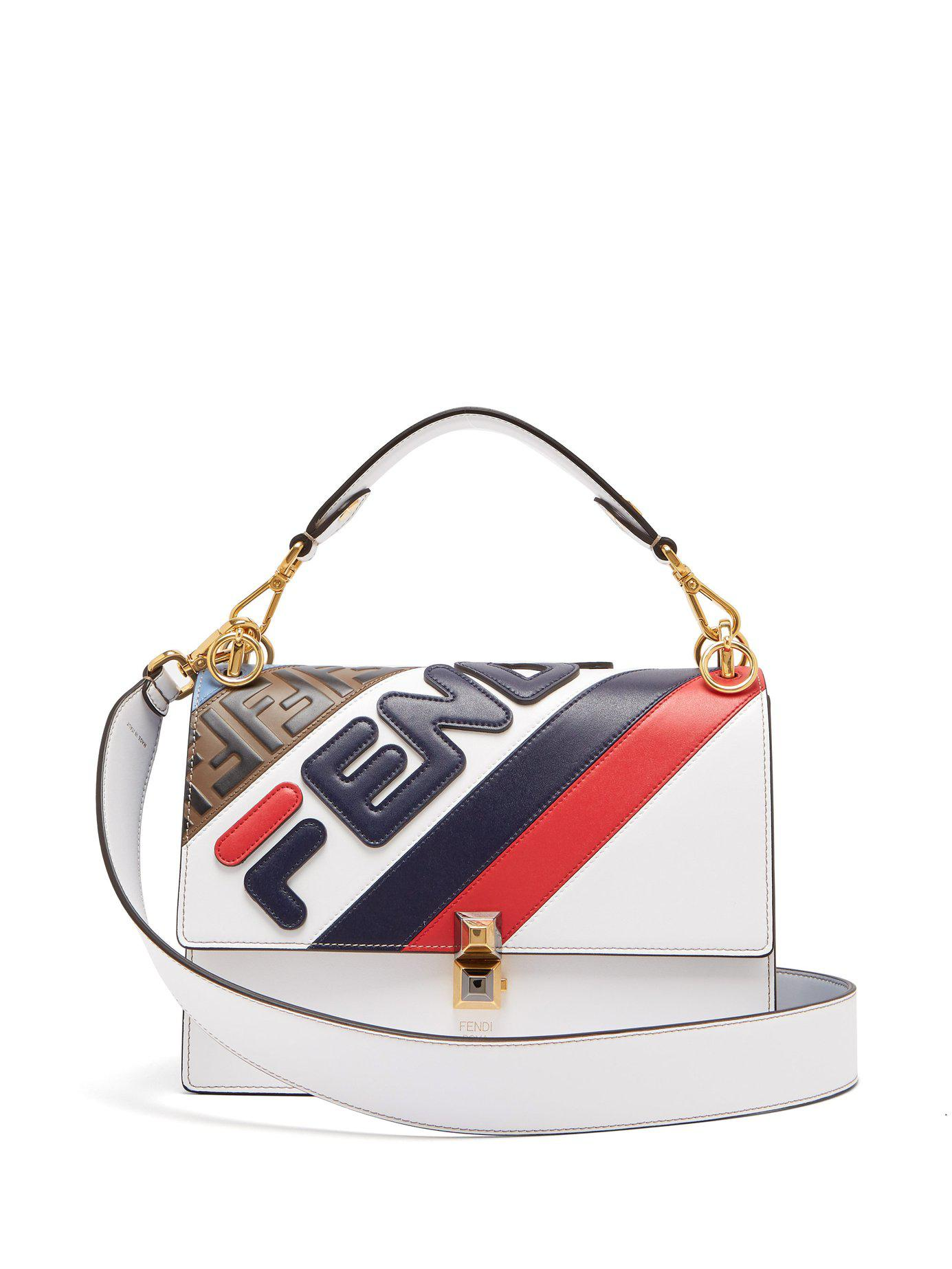 Fendi - White Kan I Appliquéd Leather Shoulder Bag - Lyst. View fullscreen 5ef291822a2b1