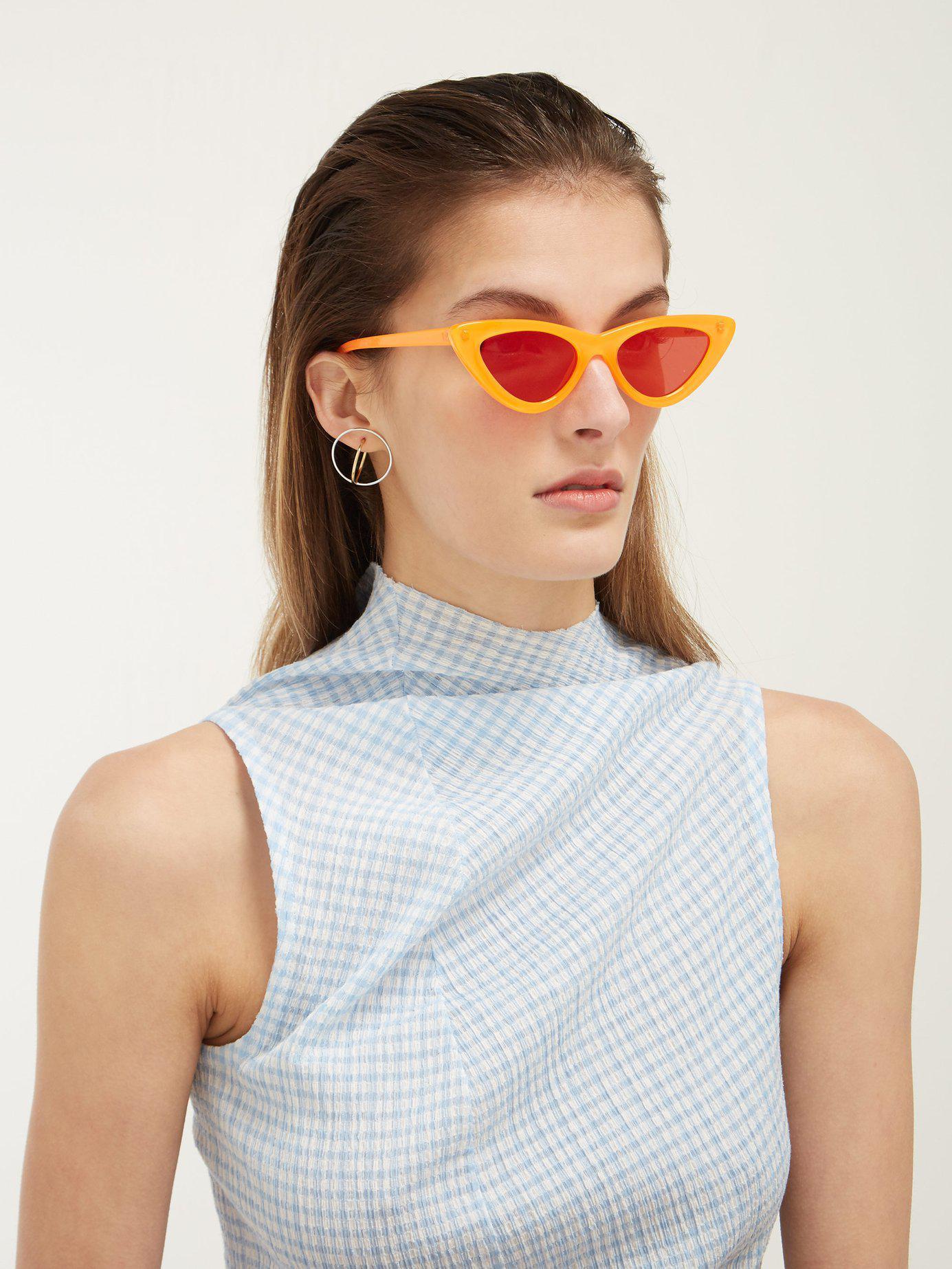 6d8ef34c66 Lyst - Le Specs X Adam Selman The Last Lolita Cat Eye Sunglasses in Orange