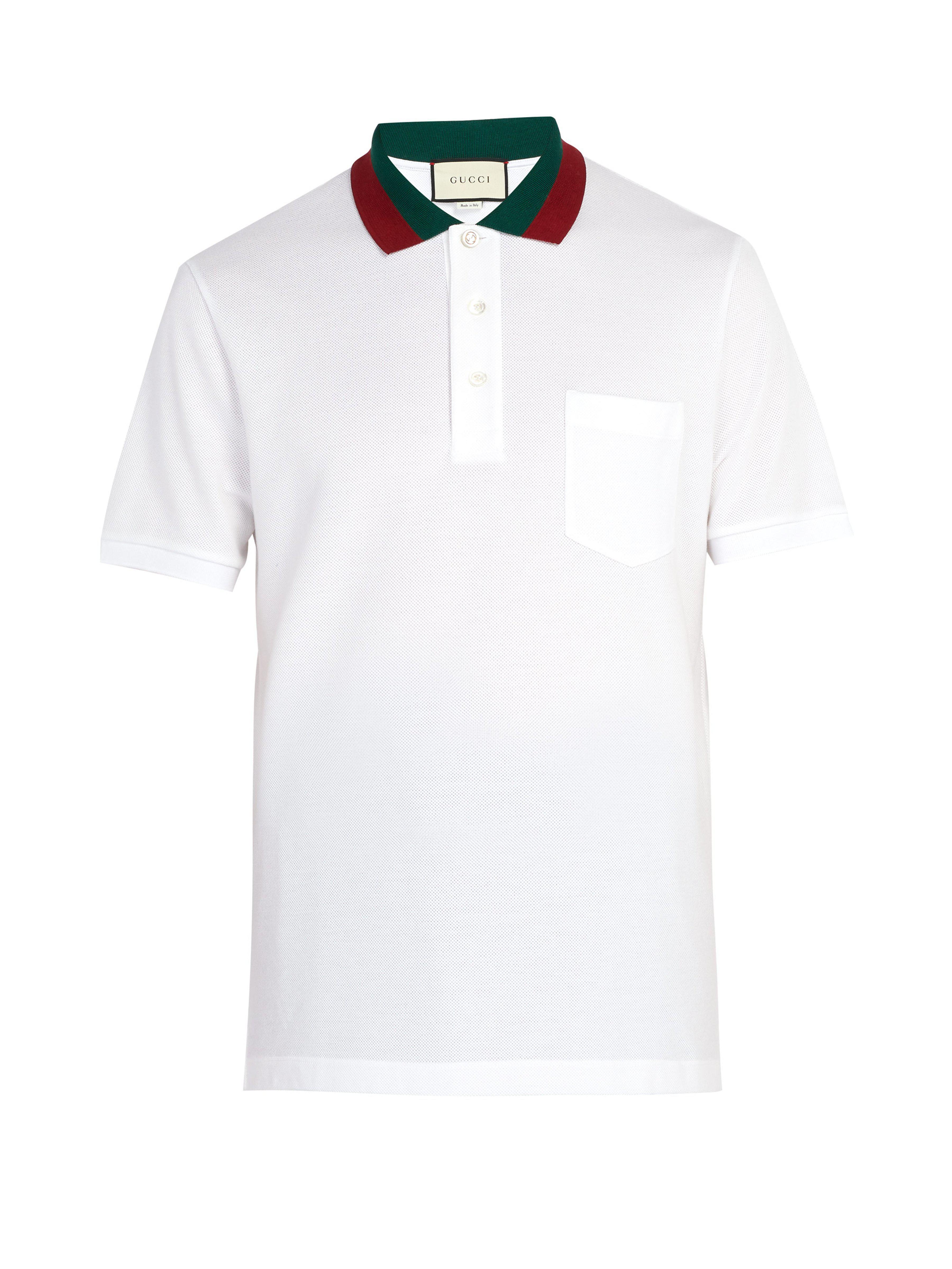 3b1e29eddd6 Lyst - Polo en piqué de coton à col bande Web Gucci pour homme en ...