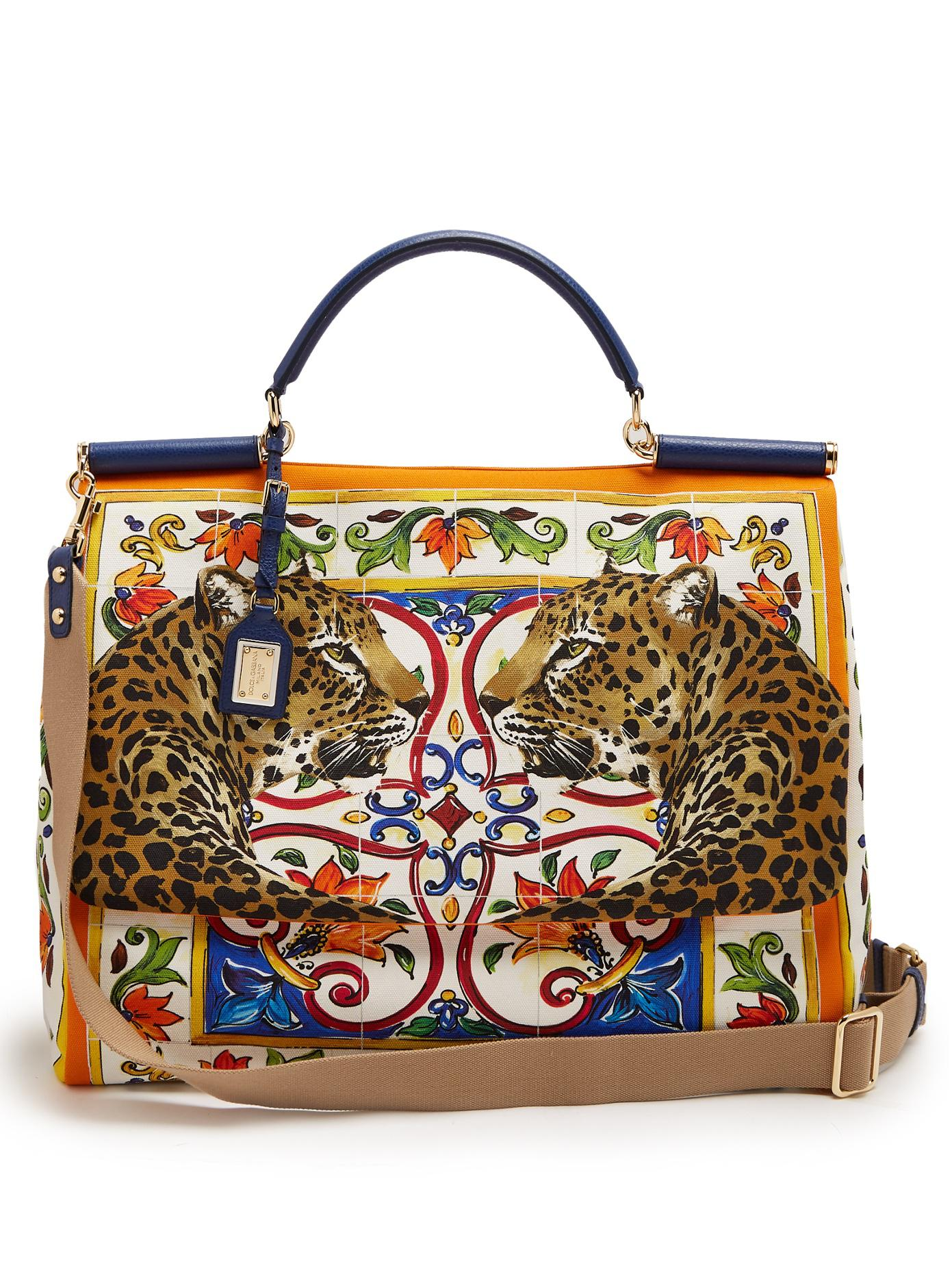 437adee995 Lyst - Dolce   Gabbana Sicily Medium Majolica-print Canvas Bag
