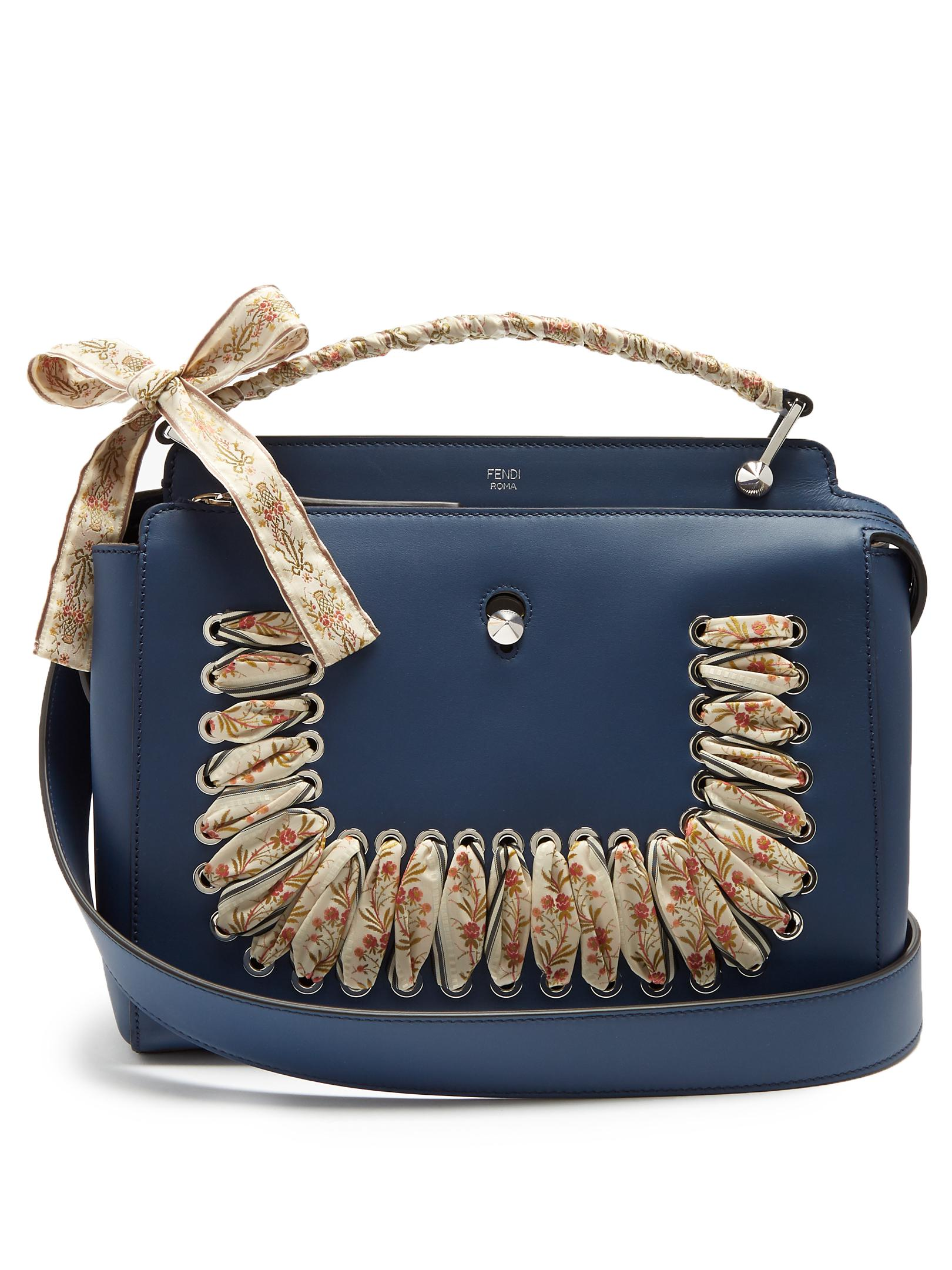 fa76fe27e5 Lyst - Fendi Dotcom Ribbon-whipstitch Leather Bag in Blue