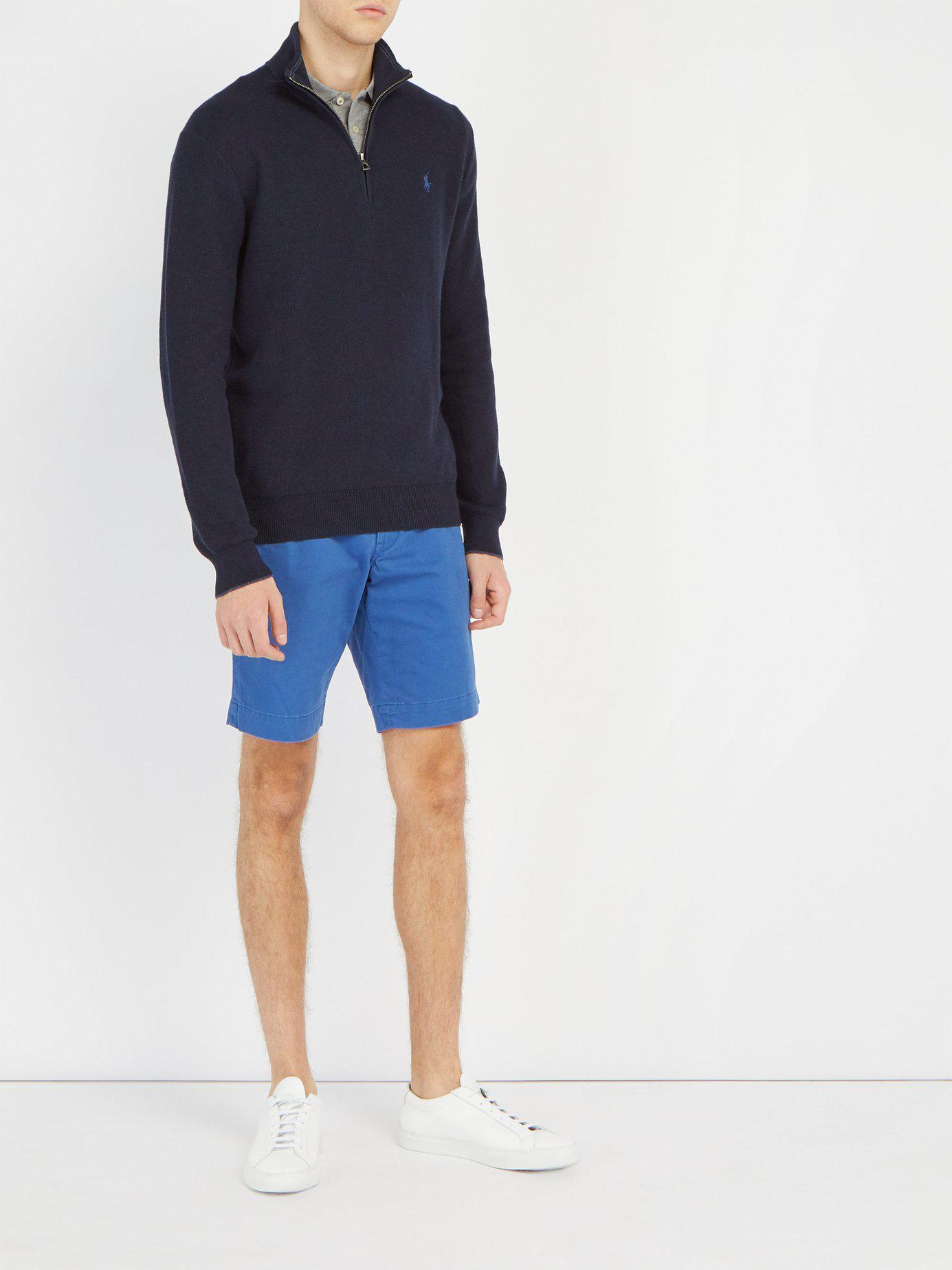 341989db4 Lyst - Polo Ralph Lauren Tailored Cotton Blend Chino Shorts in Blue for Men