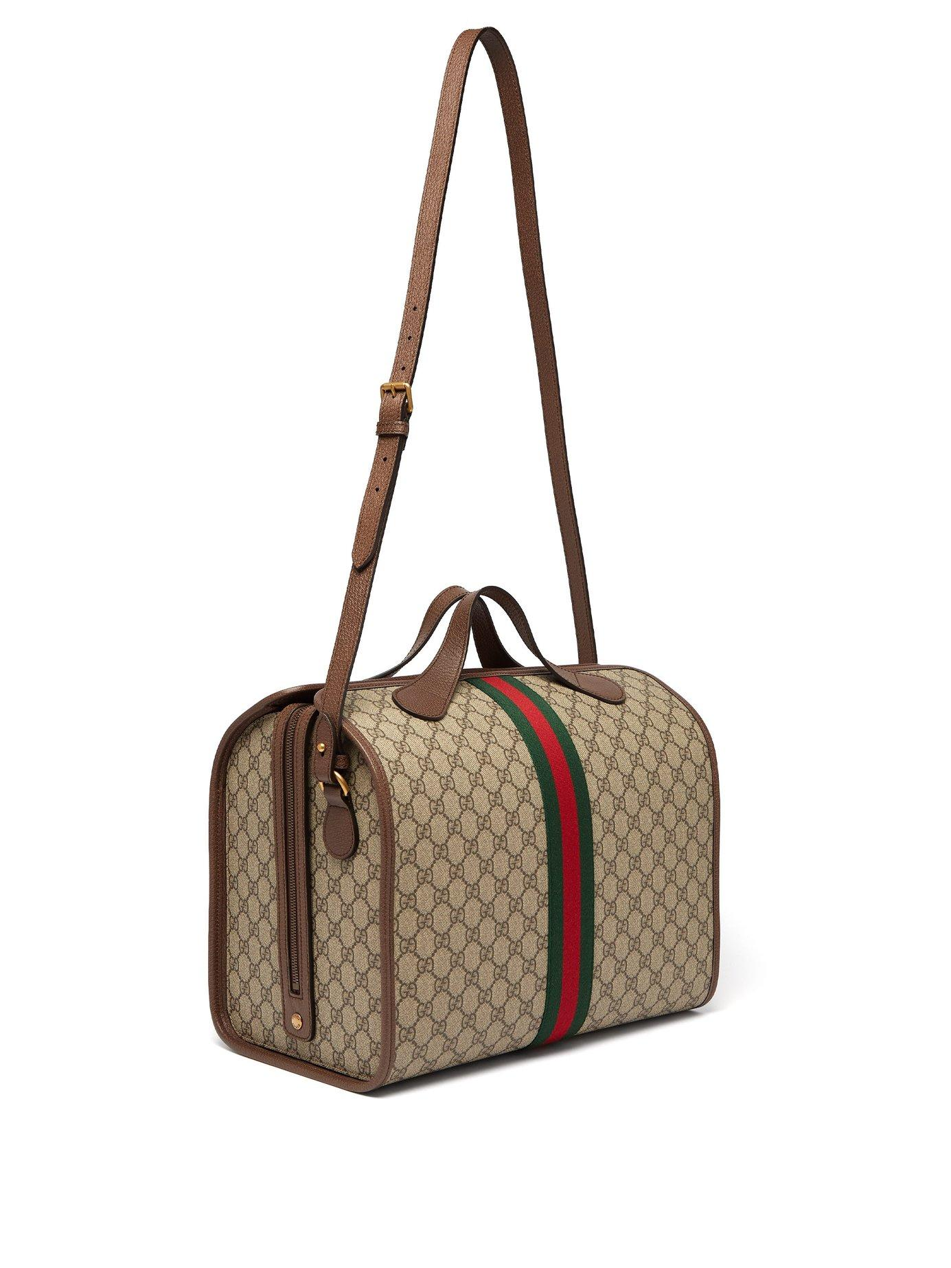 a8f84157707 Lyst - Gucci Ophidia Gg Supreme Holdall in Natural for Men