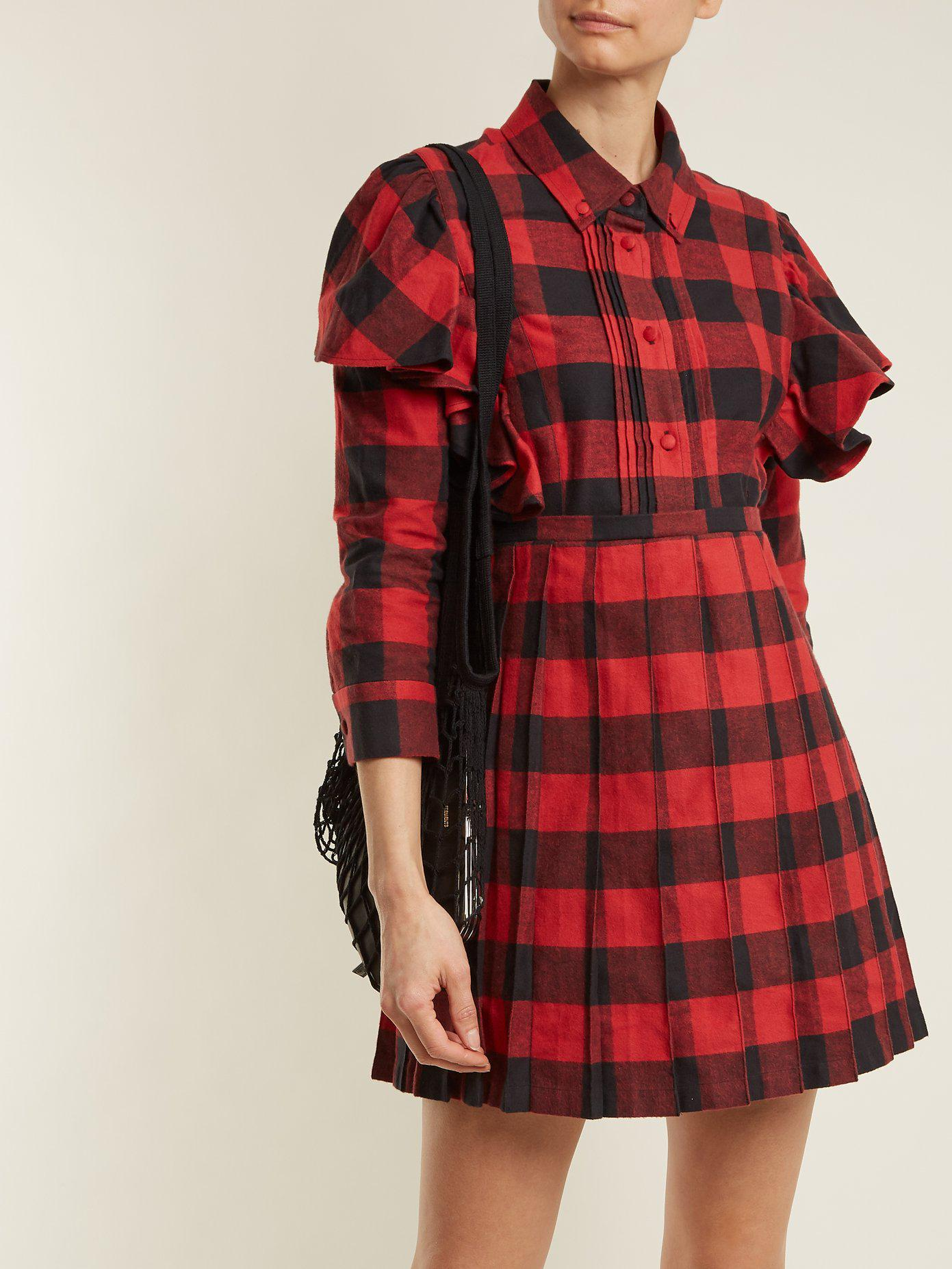 Point-collar checked cotton-flannel dress VETEMENTS Affordable Low Price For Sale fhB45P