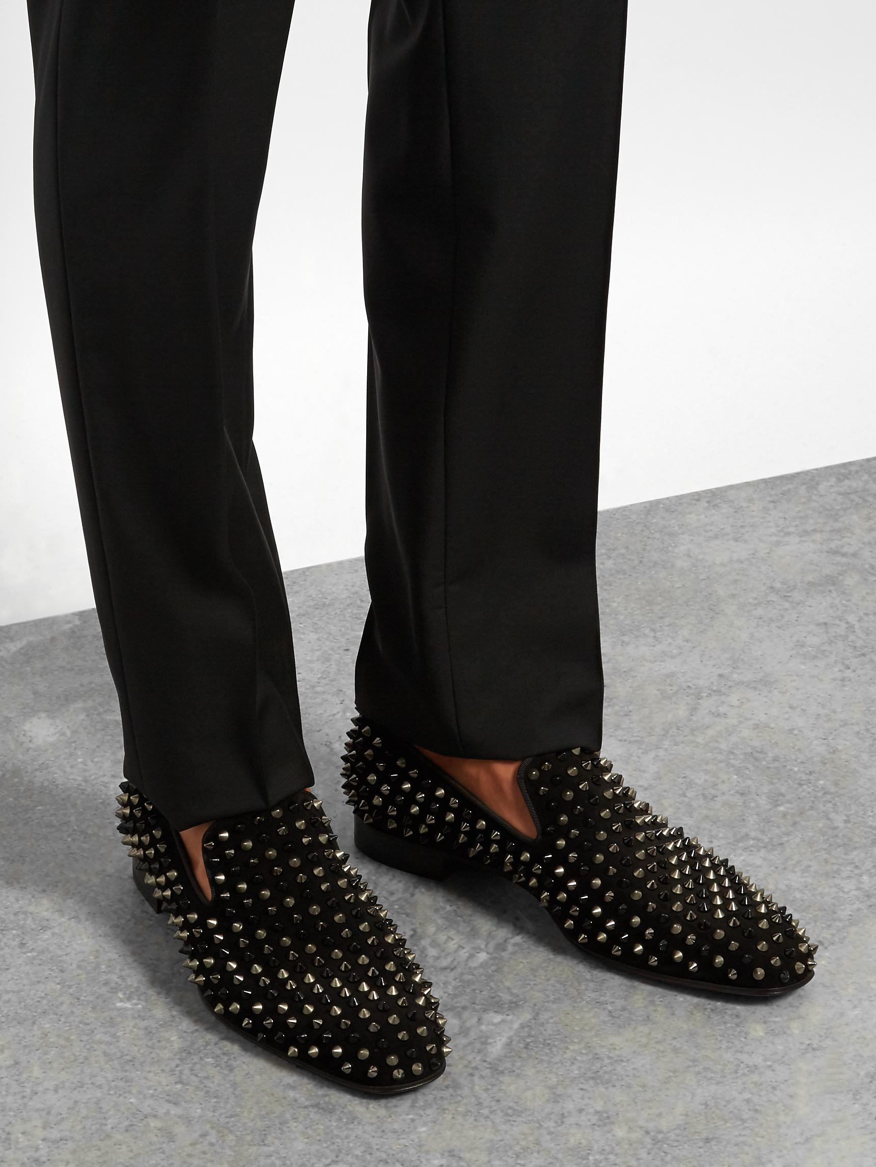 8474575d6715 Lyst - Christian Louboutin Dandelion Suede Spike Loafers in Black ...
