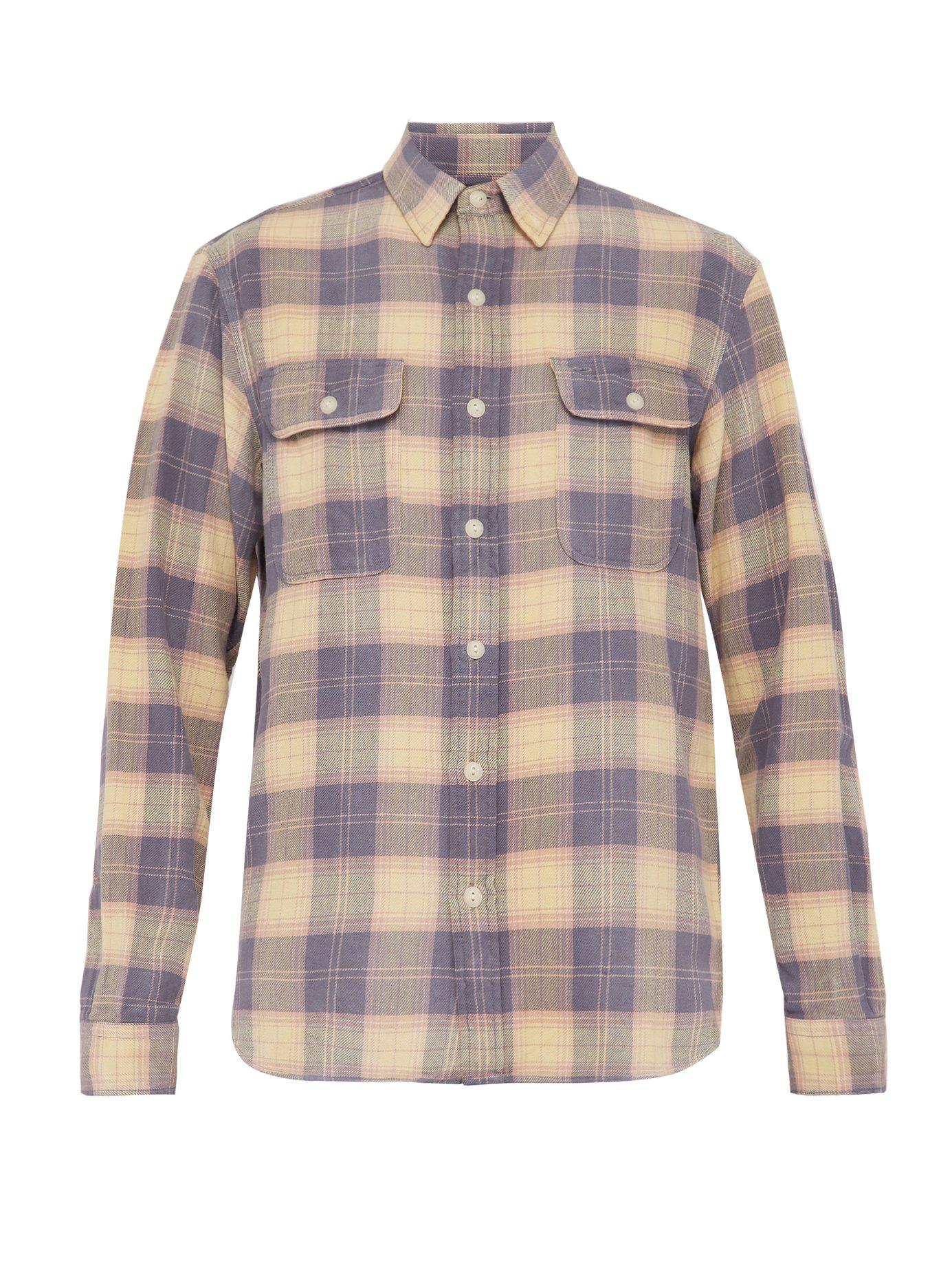 c624f6a3 RRL Checked Cotton Flannel Work Shirt in Blue for Men - Lyst