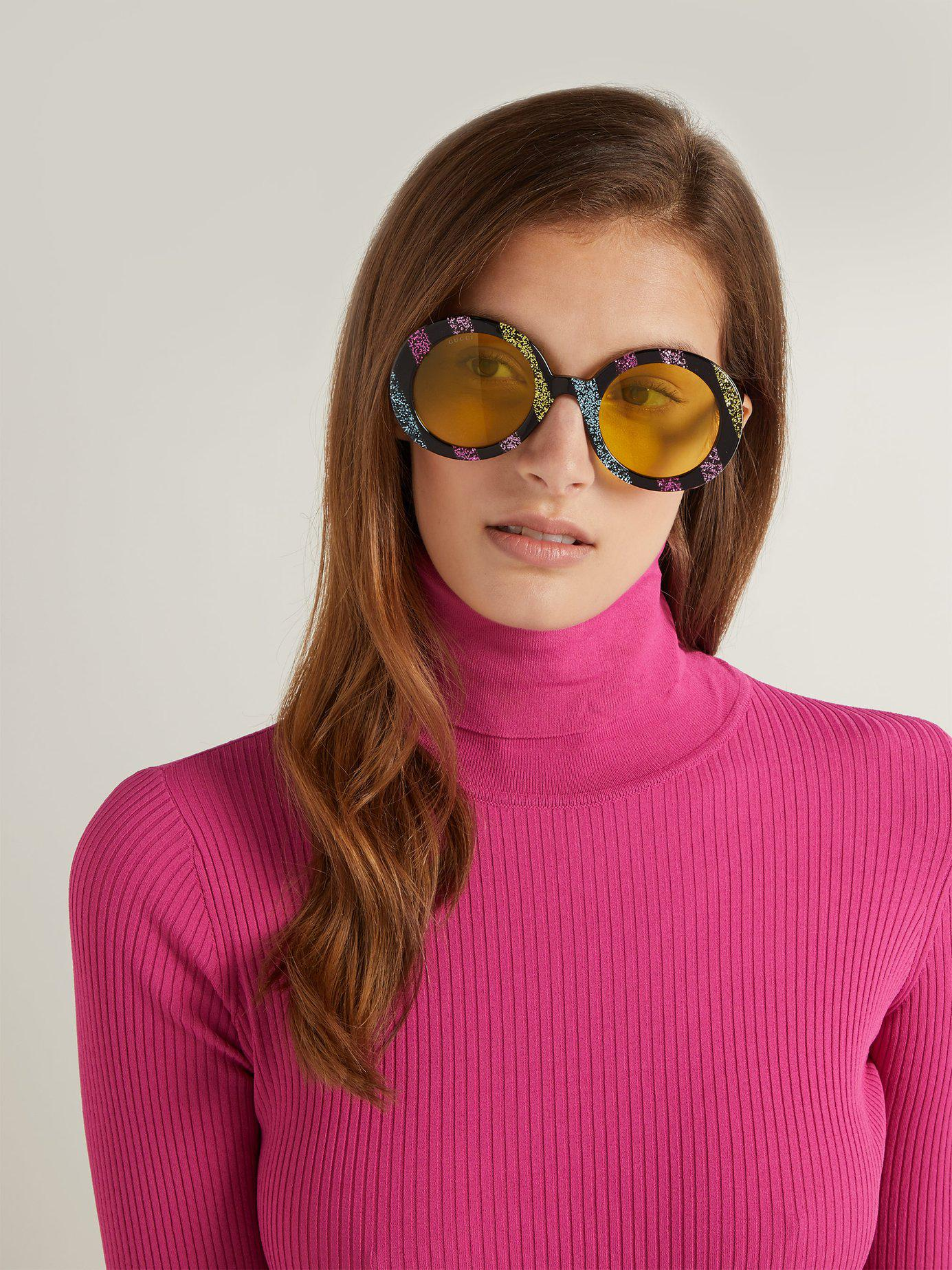 031167d0ee0c Lyst - Gucci Round Frame Glitter Acetate Sunglasses