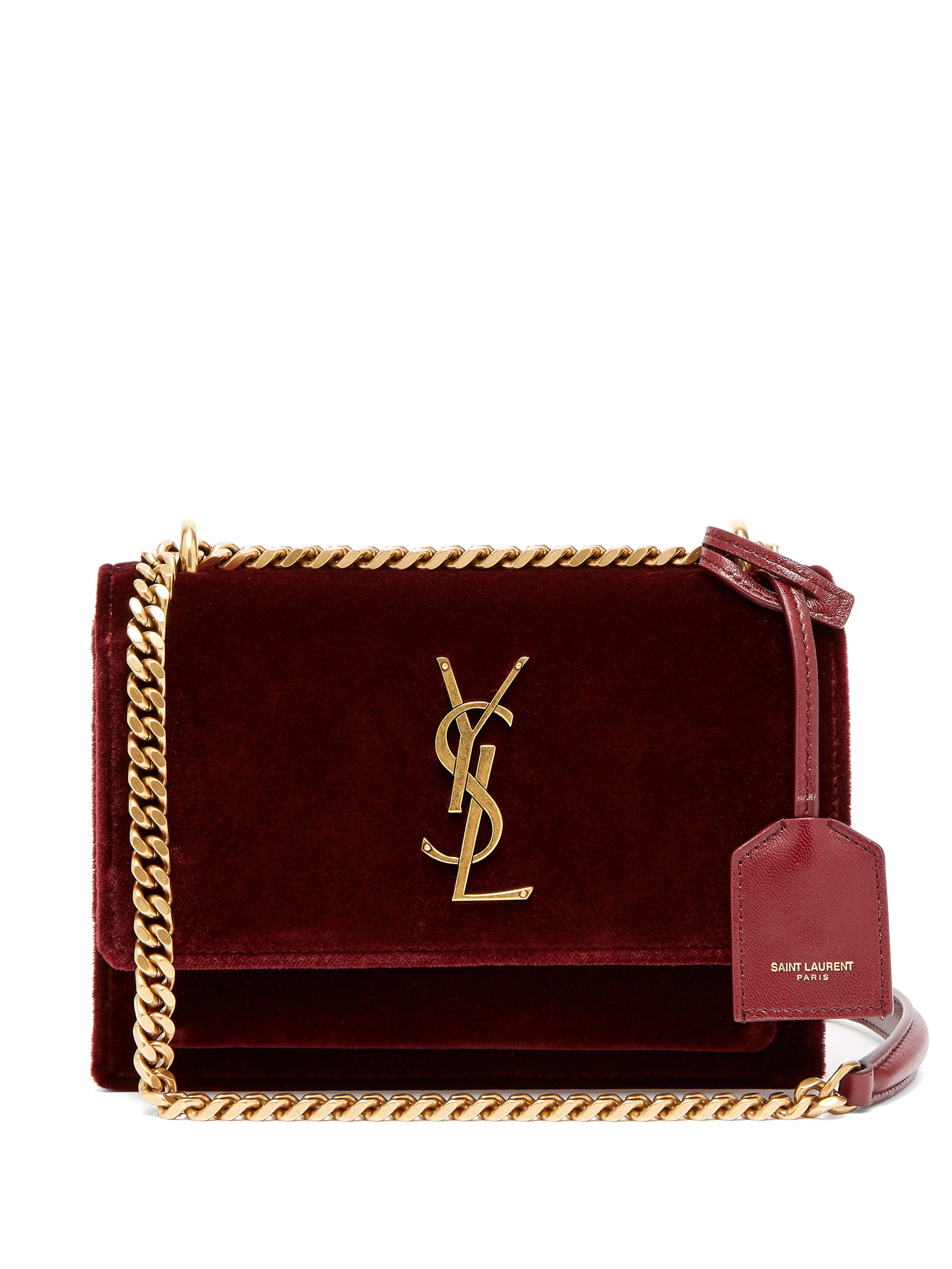 Saint Laurent Sunset Small Velvet Cross Body Bag in Purple - Lyst 95f1cd8ce6