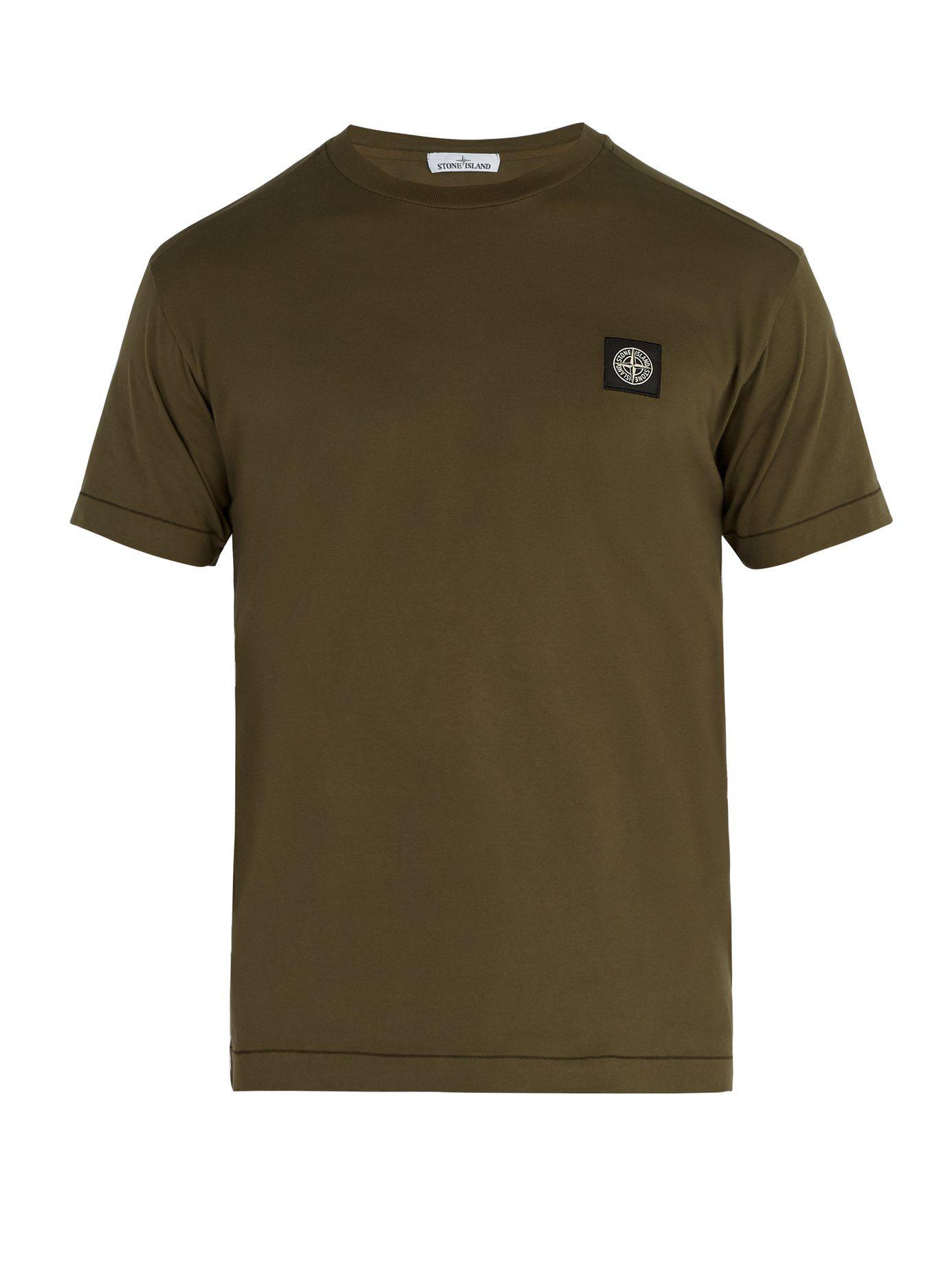 Stone Island T-shirt en coton à empiècement logo AEYkXiGb