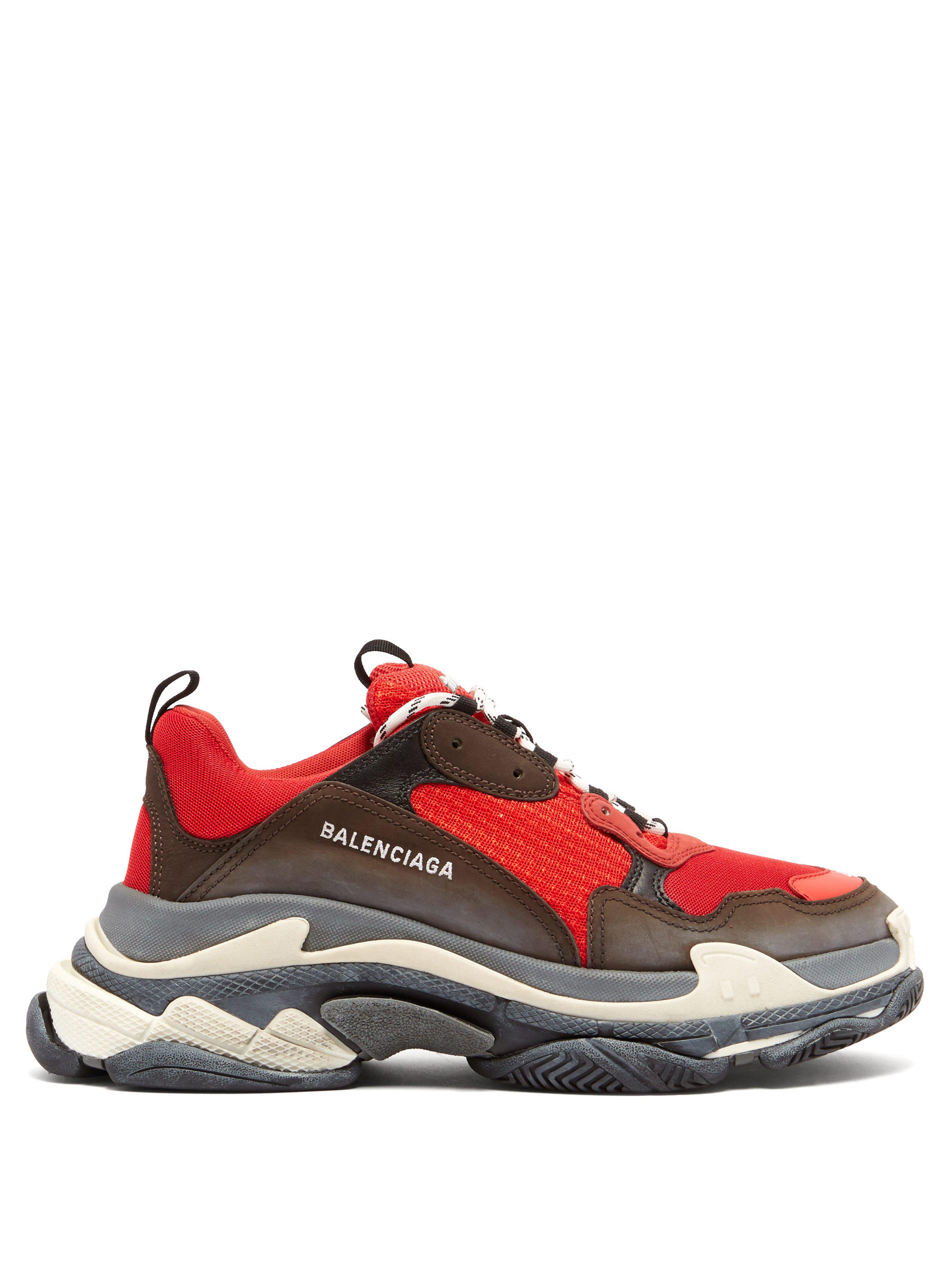 0d19e94c35df Balenciaga - Red Capsule Triple S Runner Leather And Mesh Trainers for Men  - Lyst. View fullscreen