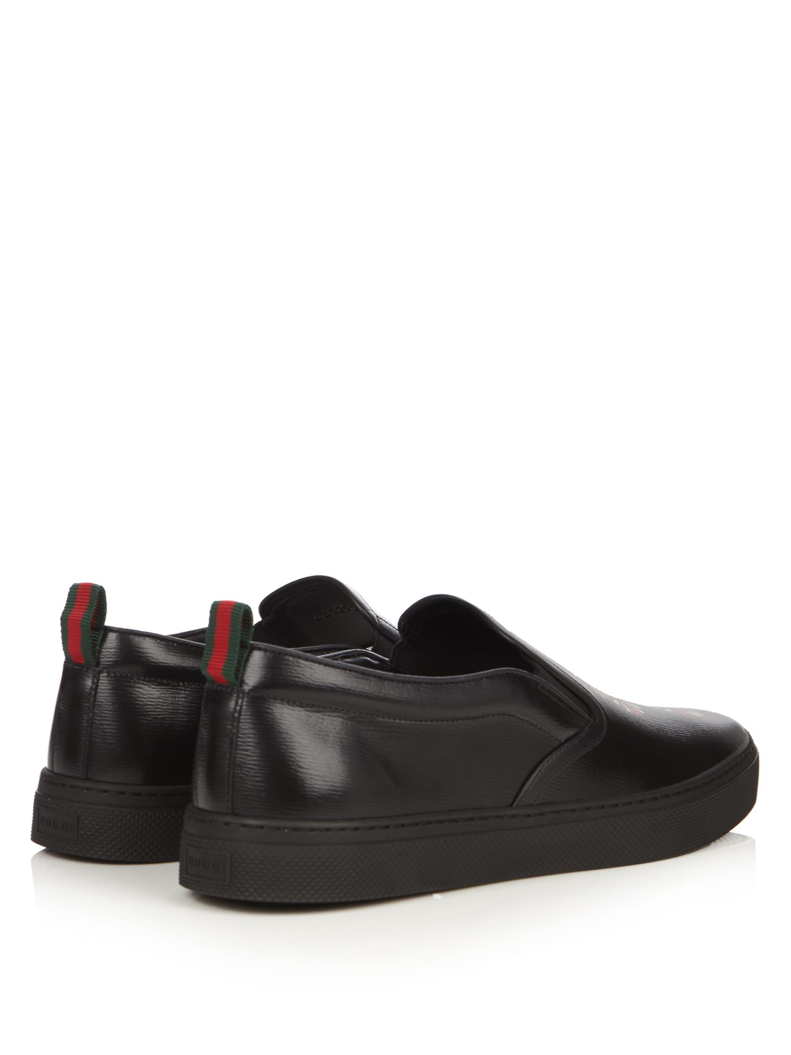 064d1f06a8c Lyst - Gucci Snake-print Leather Slip-on Trainers in Black for Men