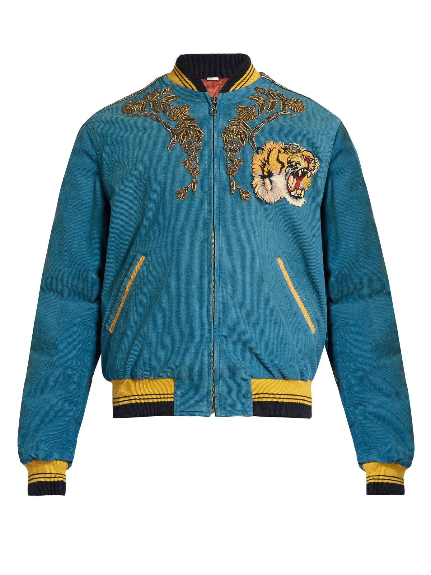 9e02442e Gucci Dragon Embroidered Corduroy Bomber Jacket in Blue for Men - Lyst