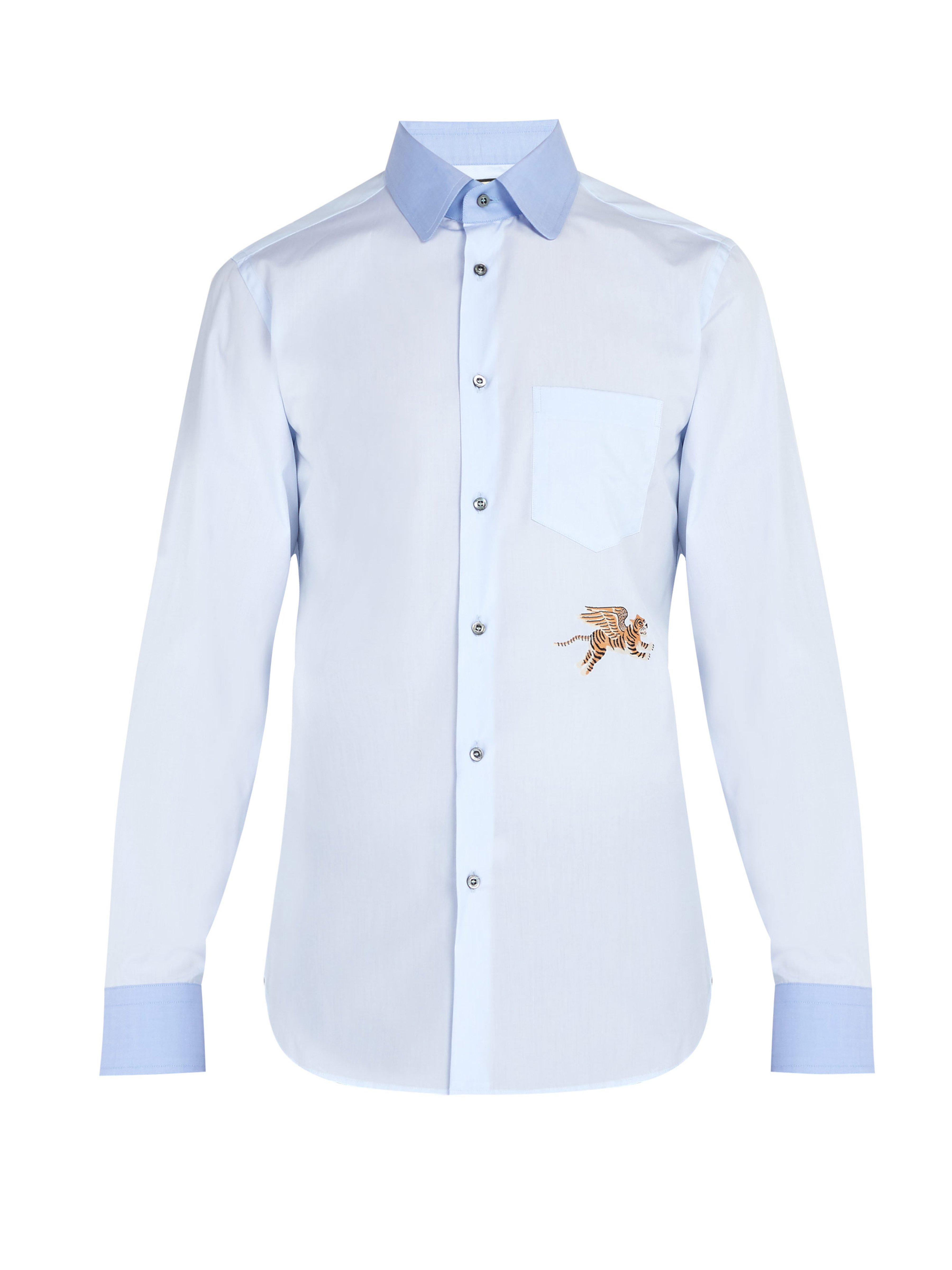 bd5aa856 Gucci Flying Tiger Cotton Poplin Shirt in Blue for Men - Lyst