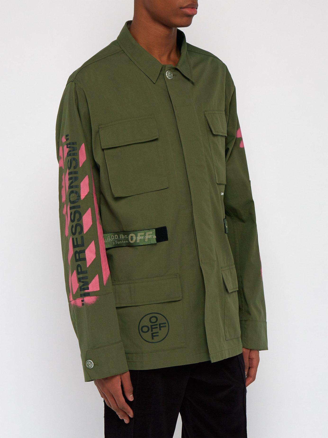 7839a38777af Off-White c o Virgil Abloh - Green Diagonal Arrow Print Military Field  Jacket. View fullscreen