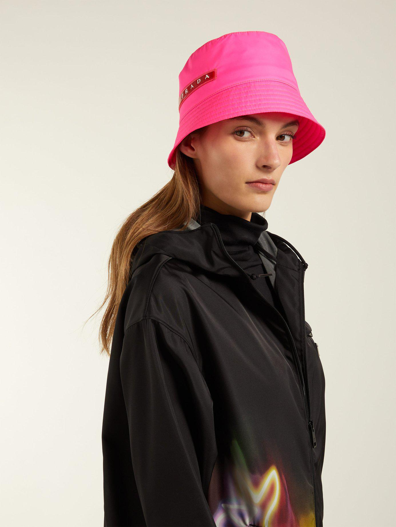 Lyst - Prada Linea Rossa-logo Bucket Hat in Pink 66bb89be0f8