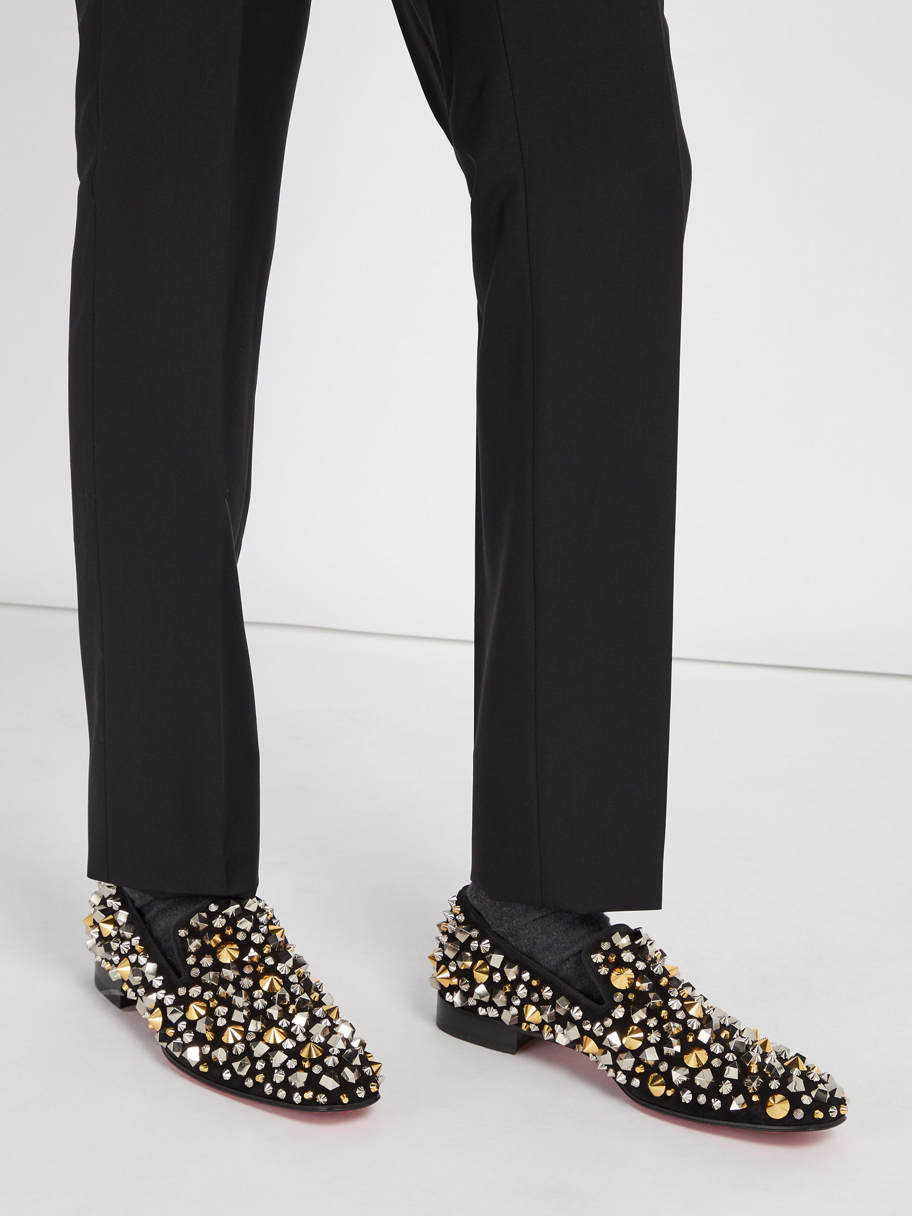 161ad73a3de Christian Louboutin Dandelion Spikes Suede Loafers in Black for Men - Save  2% - Lyst