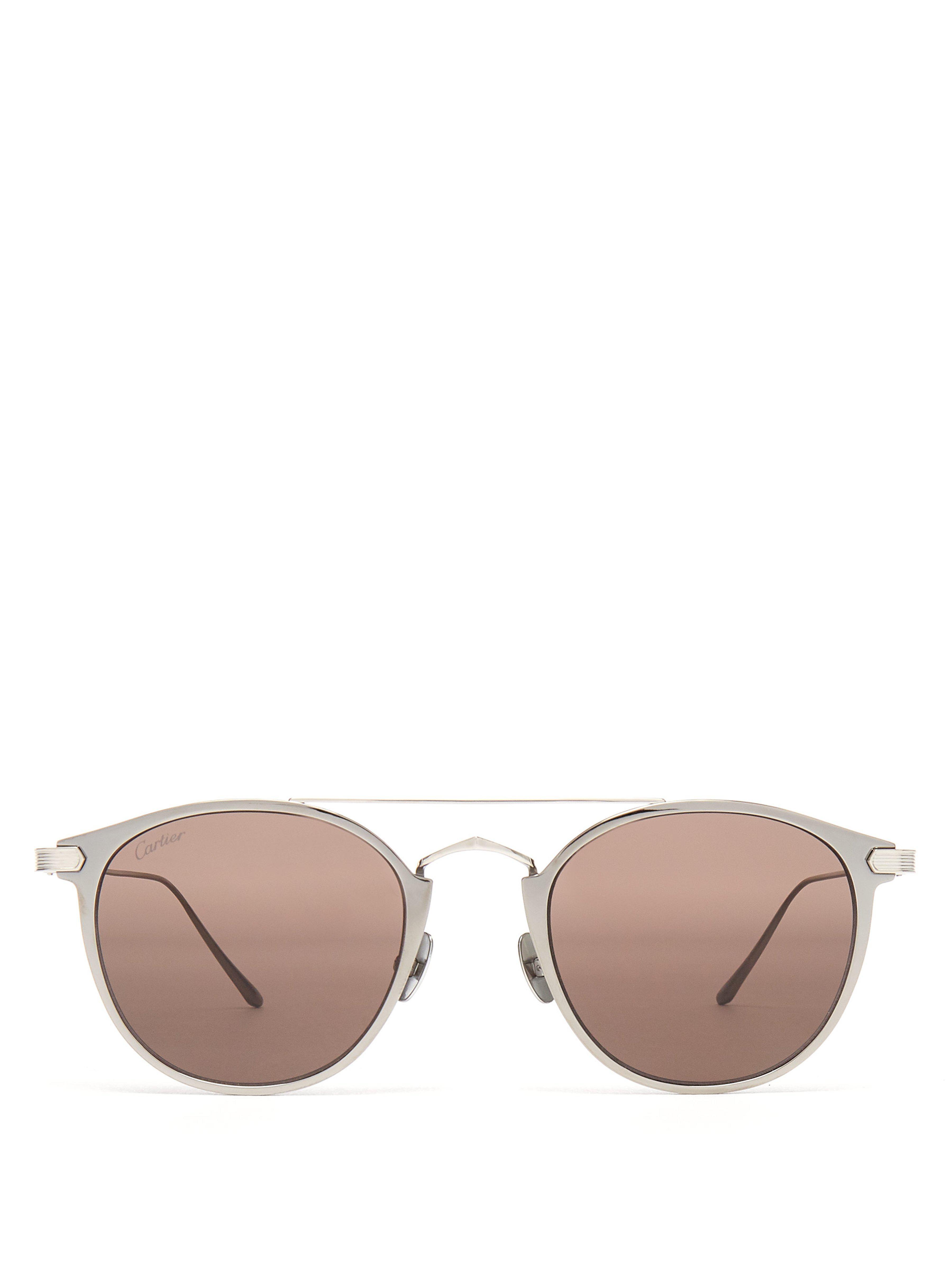 05643cc7d31 Cartier - Multicolor Round Frame Metal Sunglasses for Men - Lyst. View  fullscreen