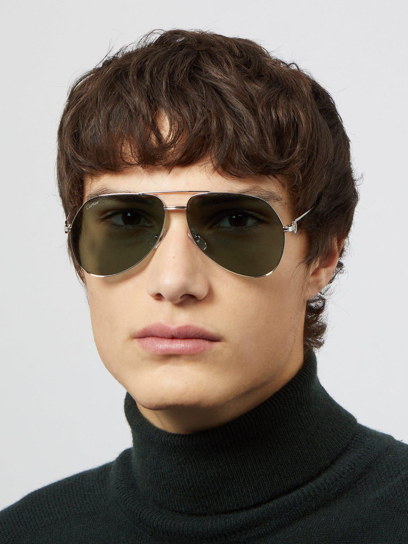 c73506e3bc Lyst - Cartier Aviator Metal Sunglasses in Metallic for Men