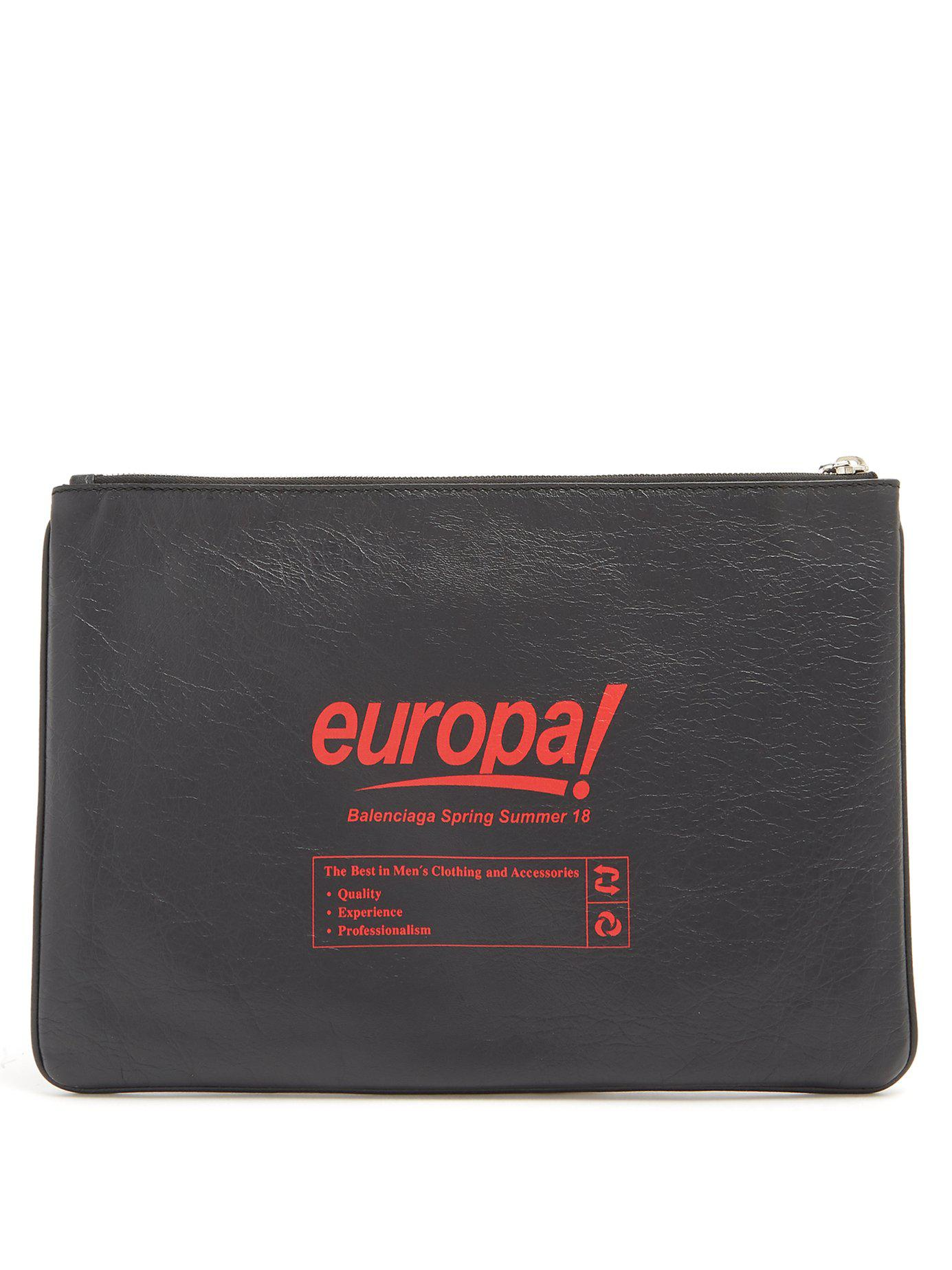 Balenciaga Pochette en cuir à imprimé Europa Yw9KjxBDrG